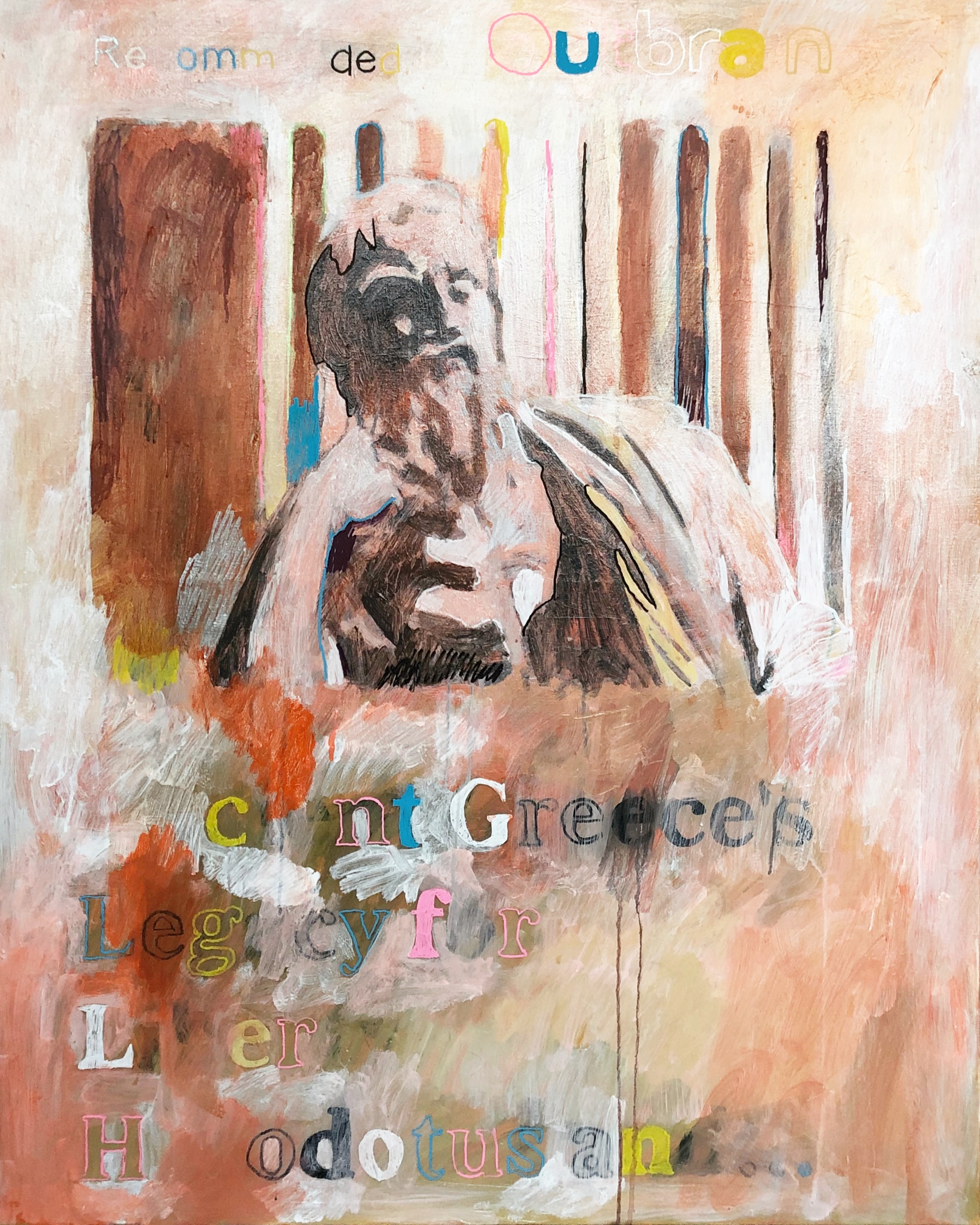 """""""Ancient Greece's Legacy for Liberty: Herodotus and..."""", 80 cm x 100 cm, acrylic on canvas."""