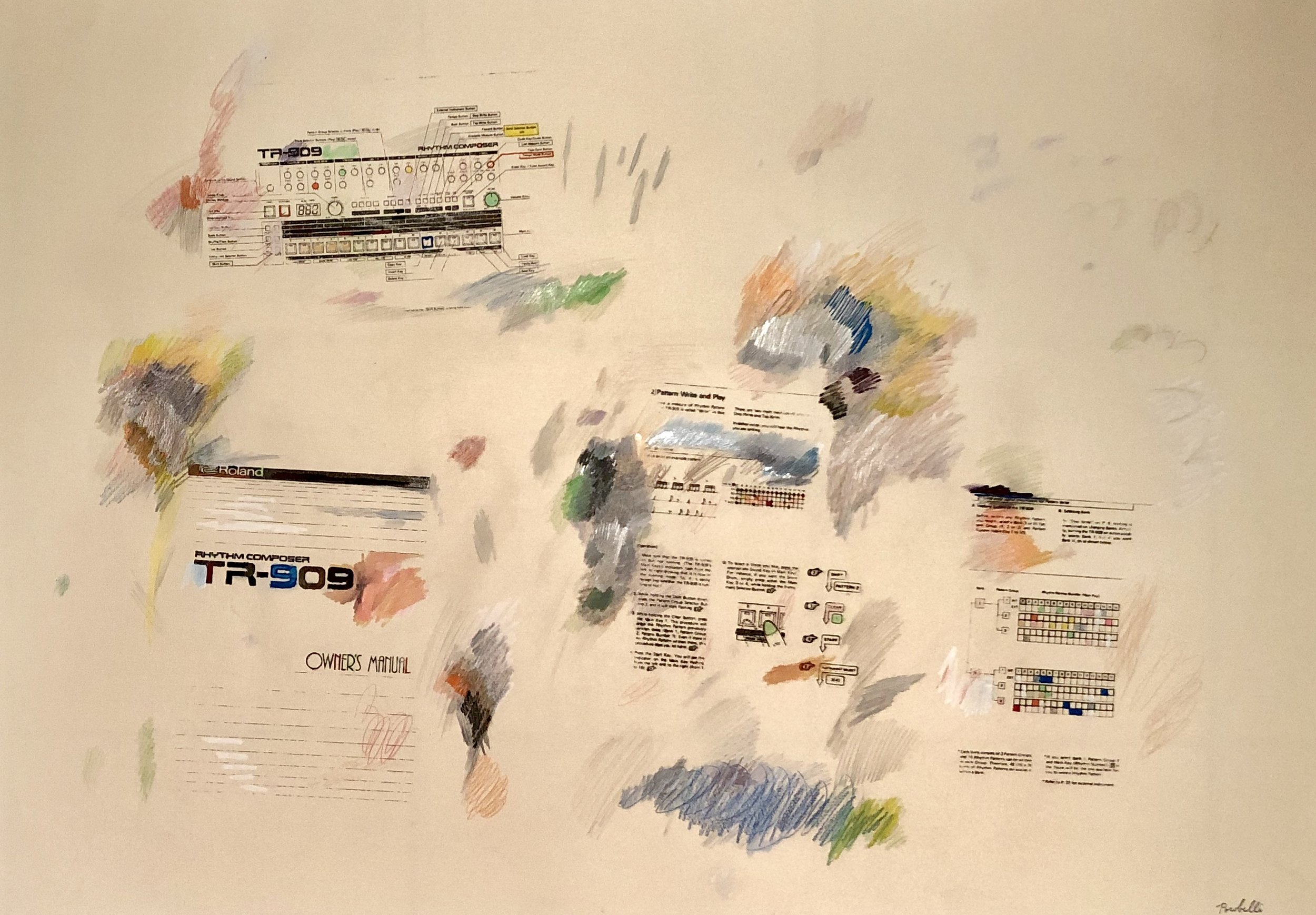 """TR-909 instructions"", 100 cm x 70 cm, mixed media on paper."