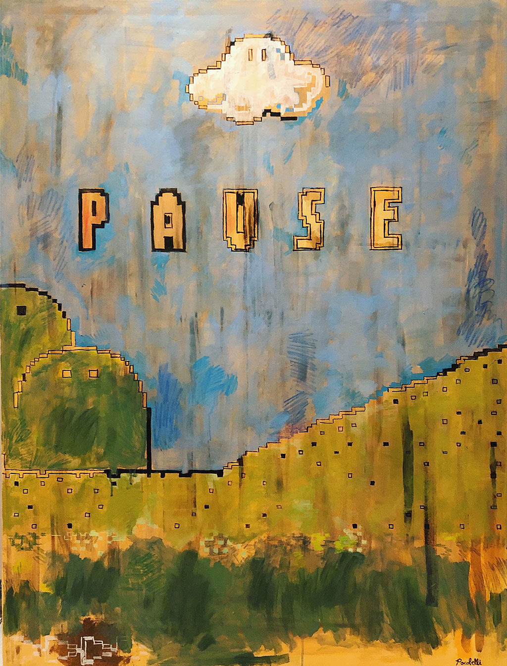 """Pause"", 100 cm x 130 cm, acrylic and mixed media on canvas."
