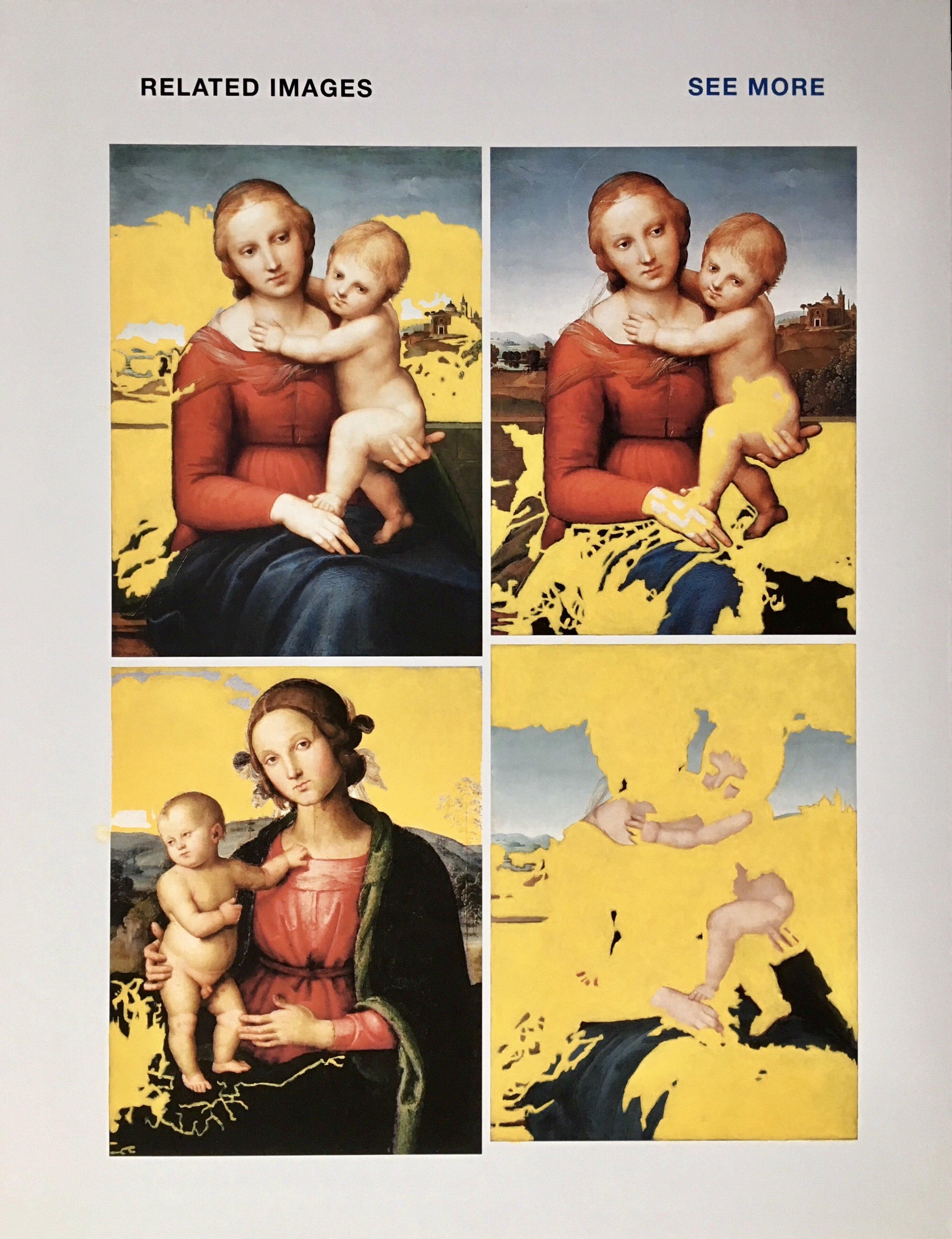 """q=raphael+madonna"", 100 cm x 130 cm, inkjet and acrylic paint on canvas."