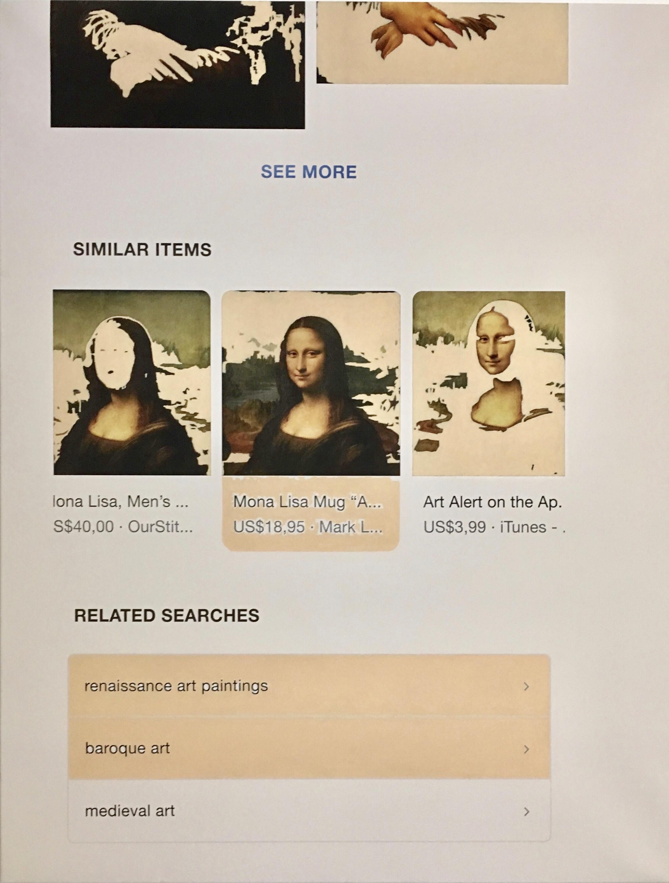 """q=mona+lisa"", 100 cm x 130 cm, inkjet and acrylic on canvas."
