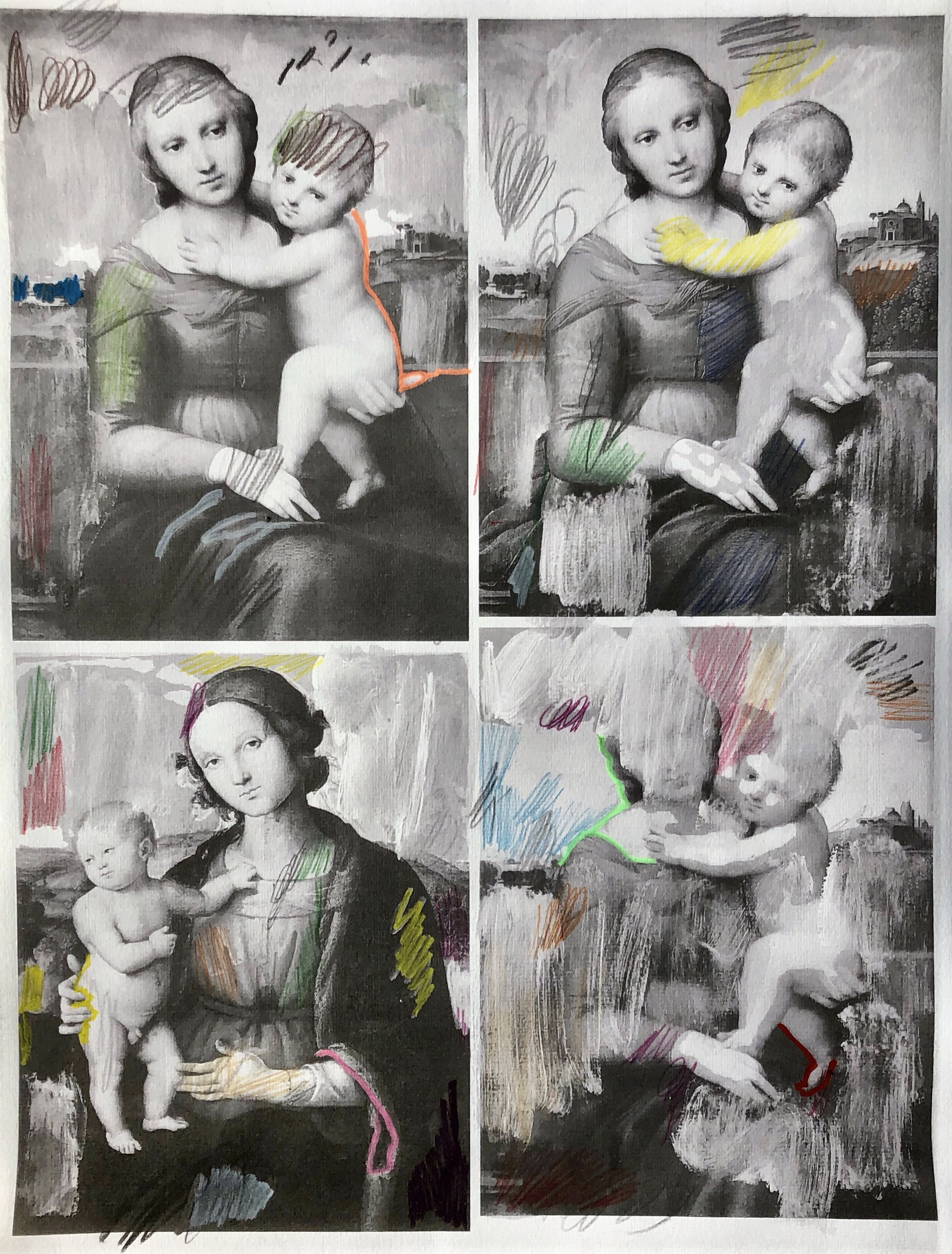 """q=raphael+madonna+child"", 33 cm x 48.5 cm, mixed media on paper."