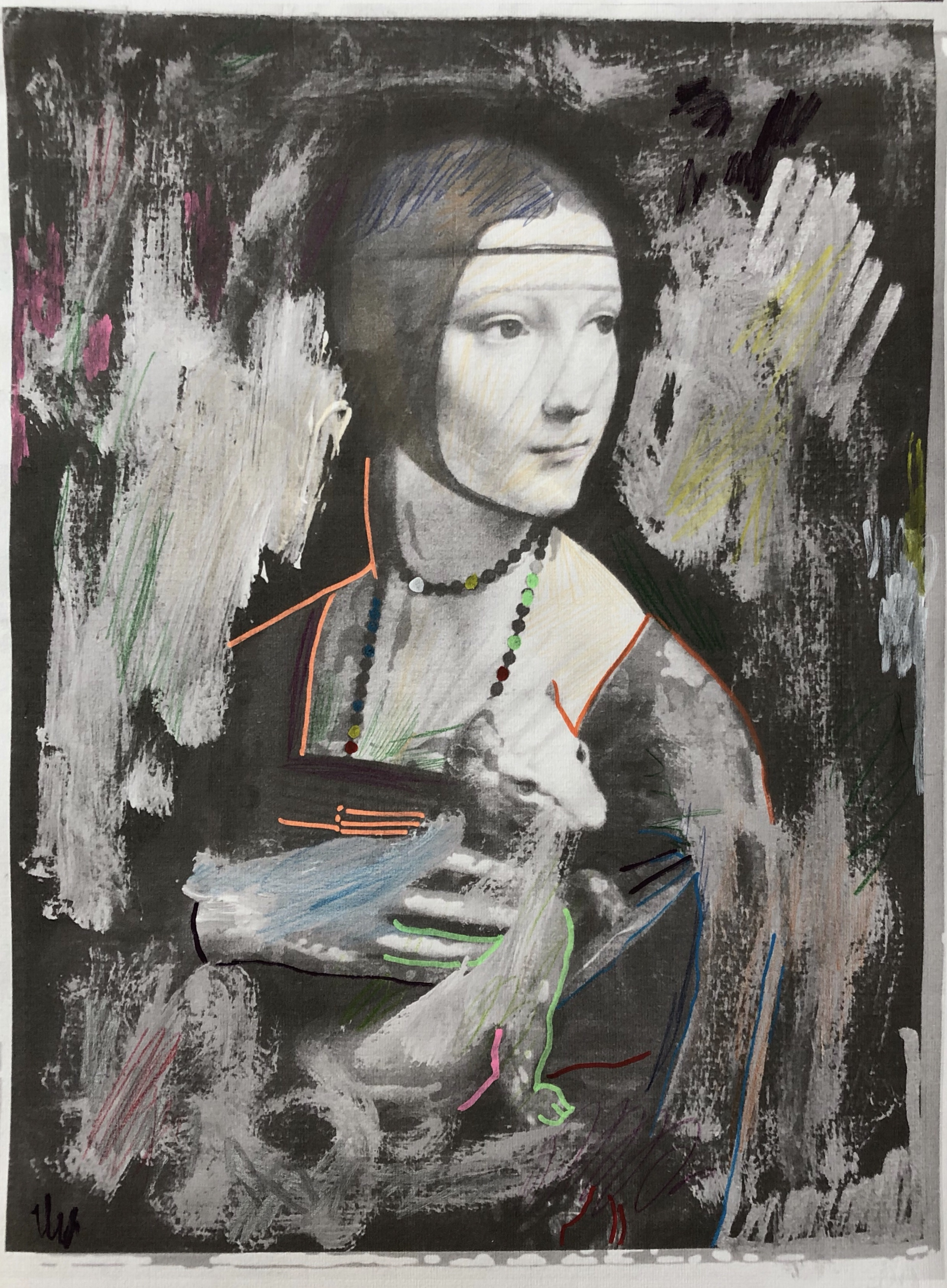 """Lady with Ermine"", 33.5 cm x 48 cm, mixed media on paper."