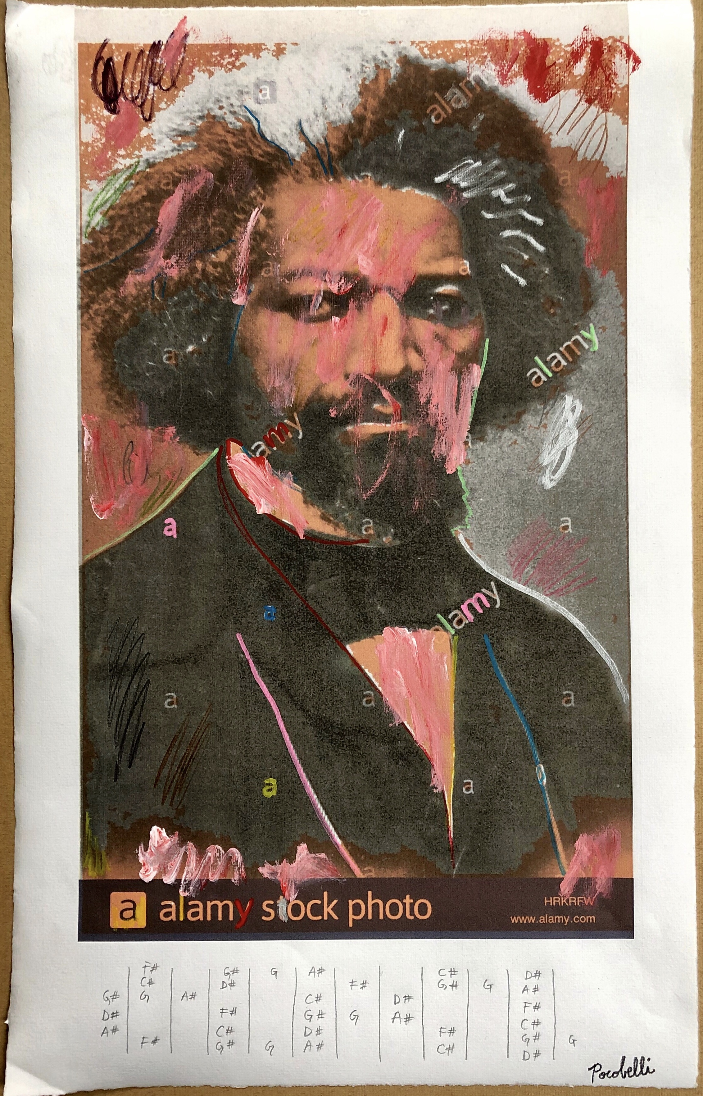 """Frederick Douglass (with blues scale in F#)"", 30.5 cm x 48.5 cm, mixed media on paper."