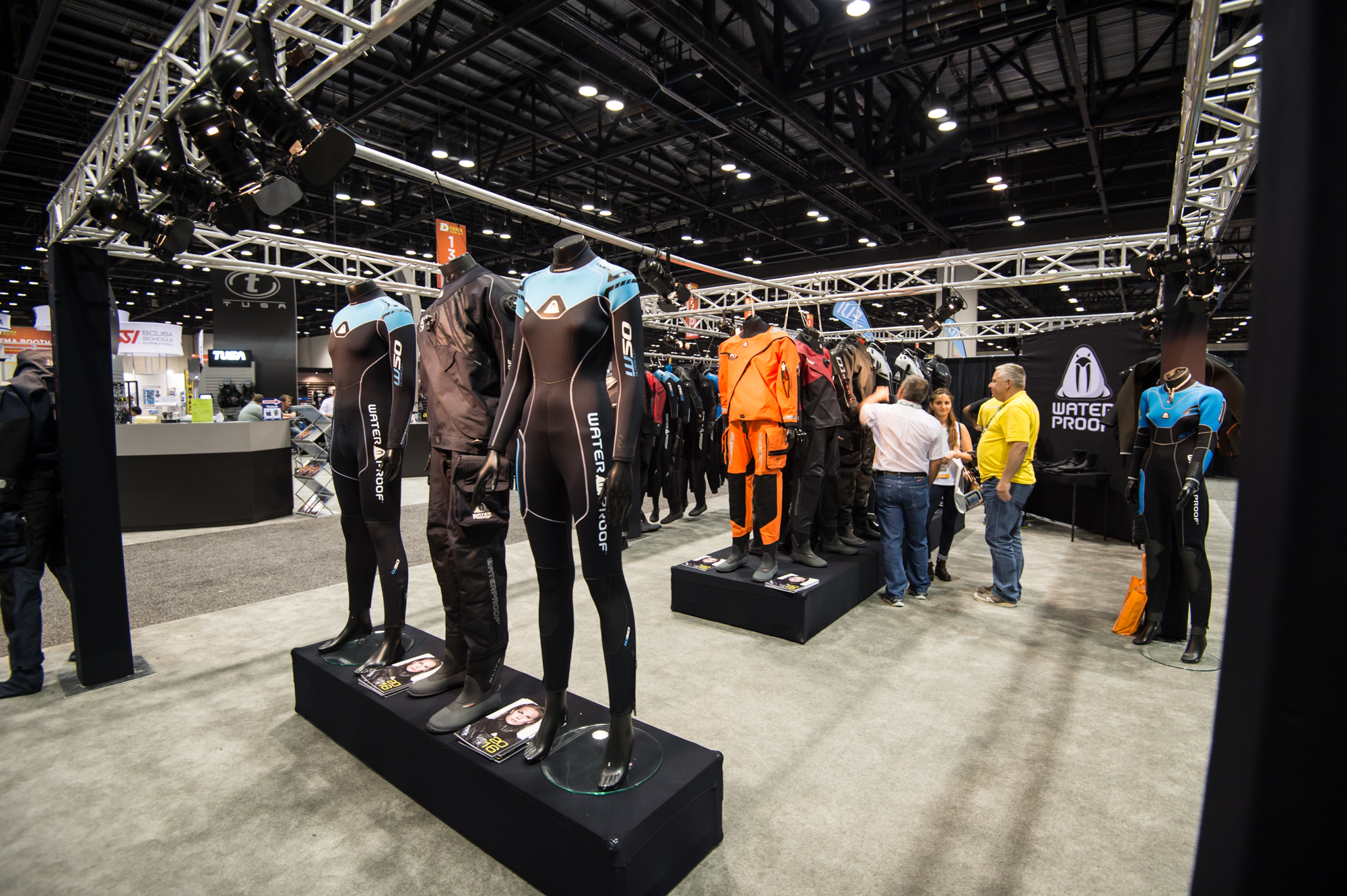 Waterproof showed off a wide variety of drysuits and wetsuits