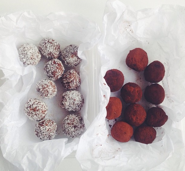 cocoa and coconut-rolled vegan truffles