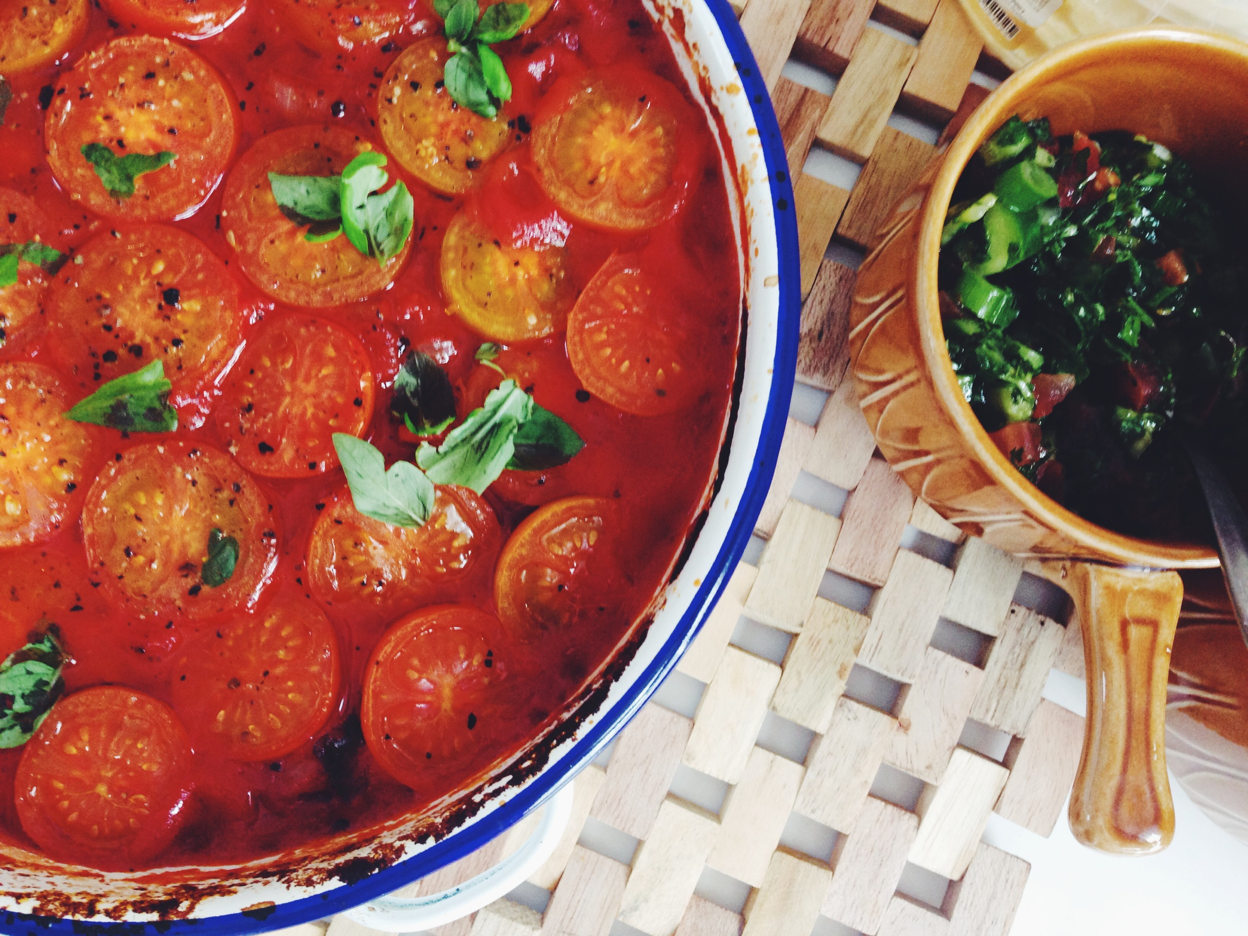 baked aubergine and cherry tomatoes