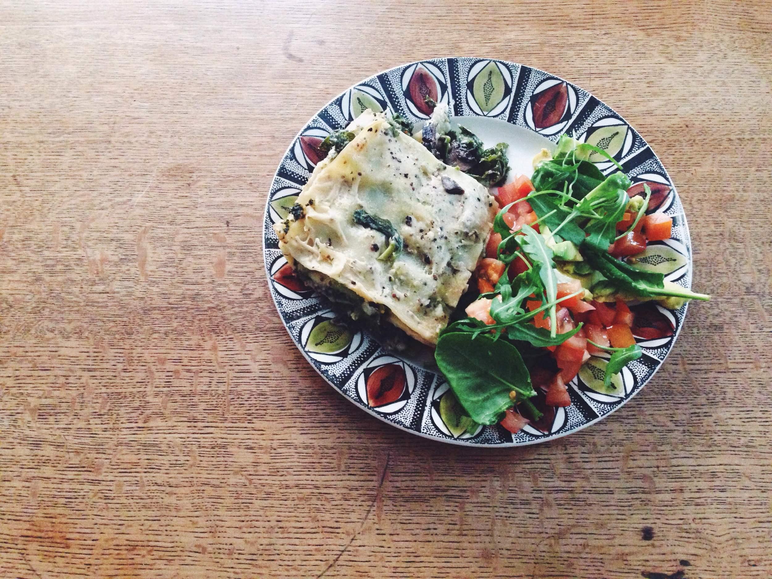 kale and mushroom vegan lasagne