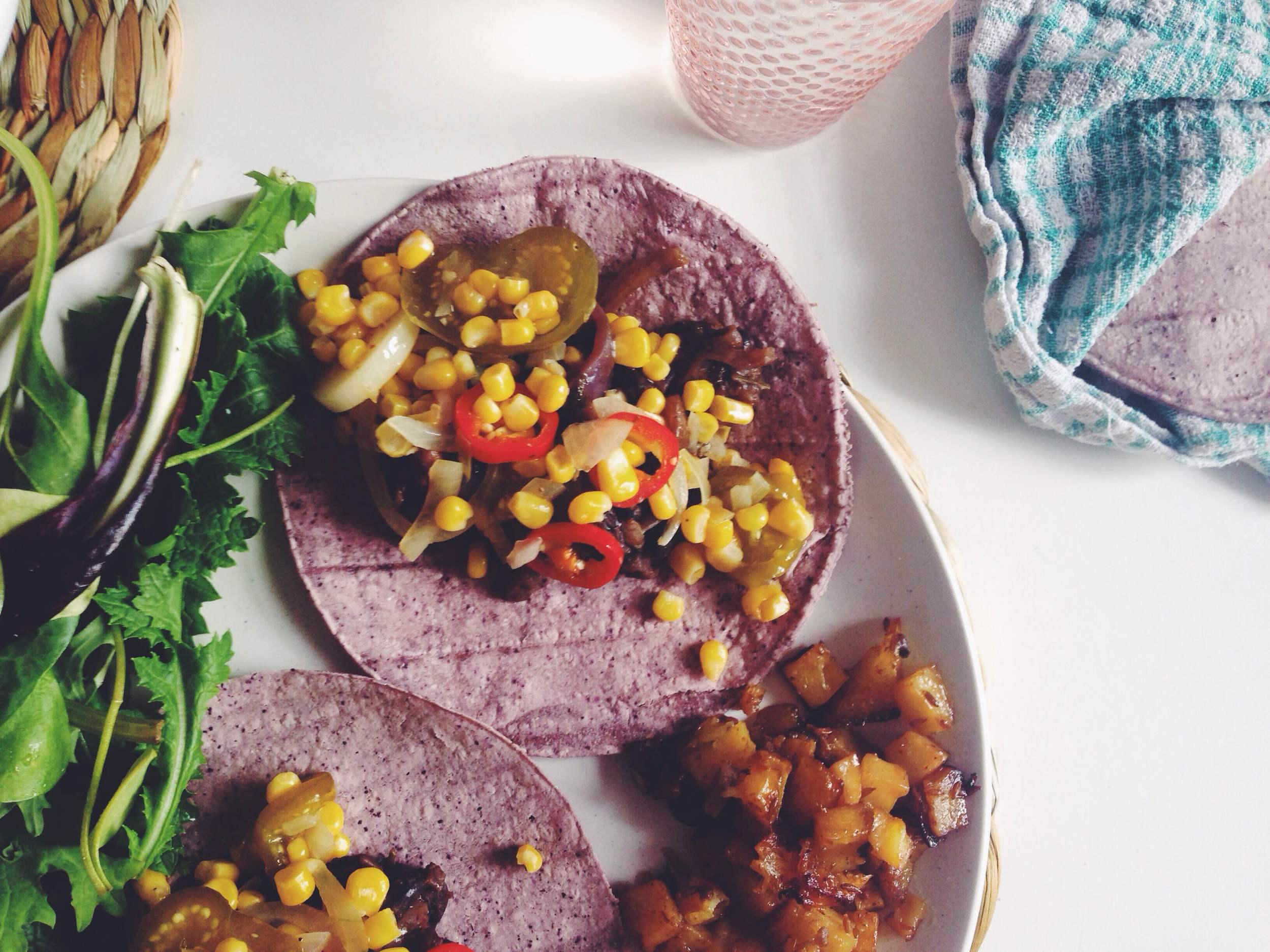 charred sweetcorn and tomatillo tacos