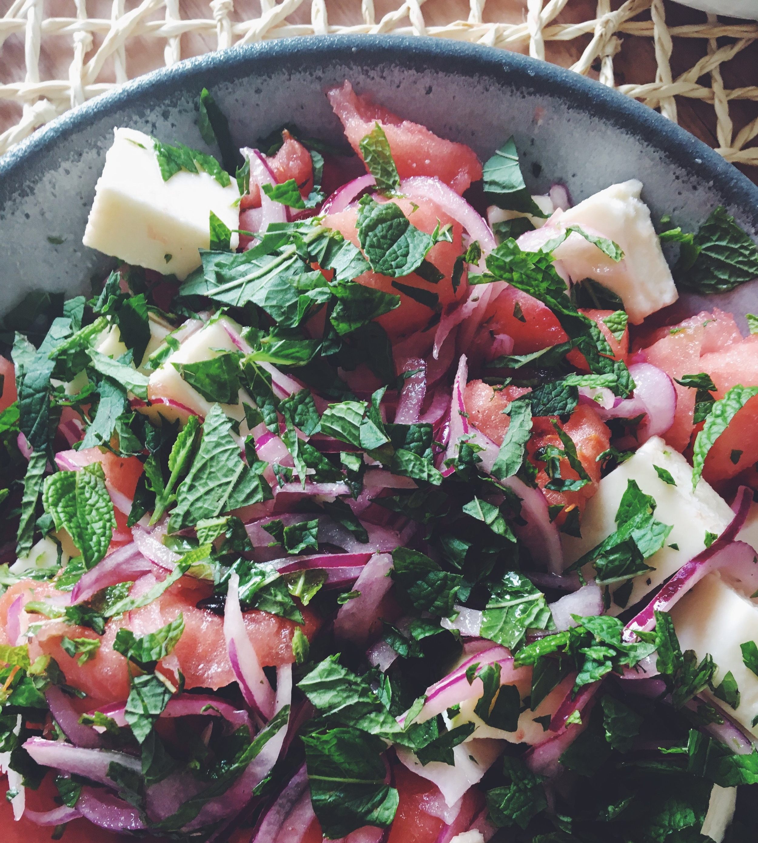 watermelon and vegan feta salad