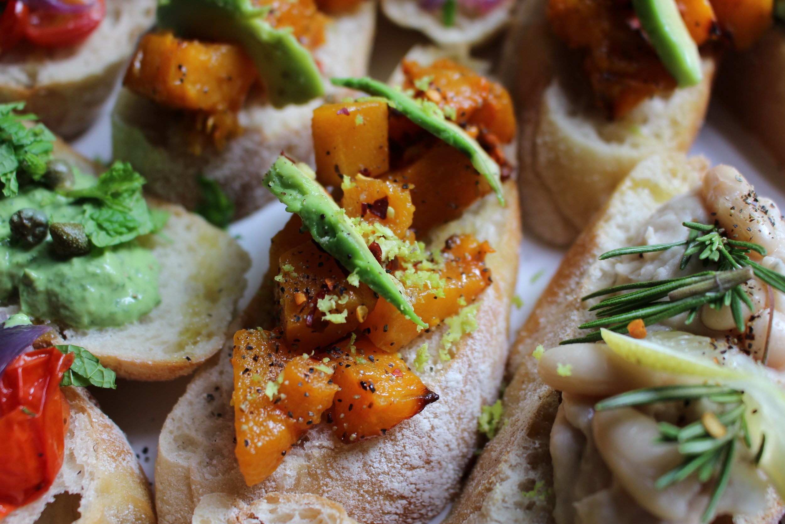 Squash chilli and avocado crostini