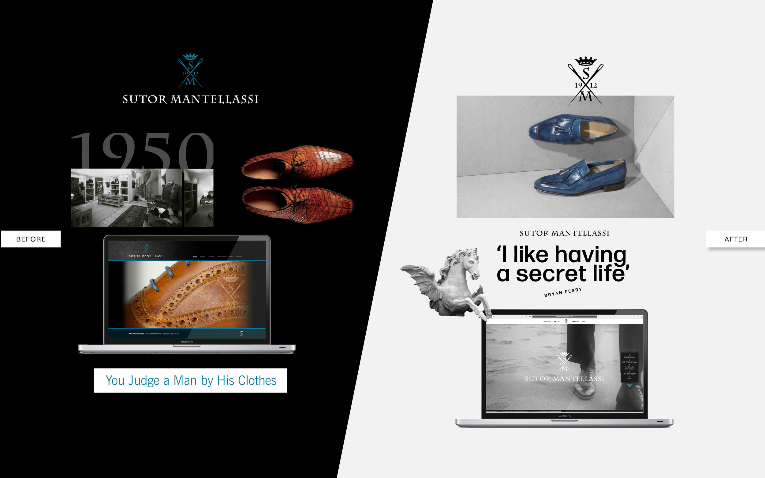 Sutor Mantellassi's brand image before the relaunch in 2014 and after relaunch in 2015