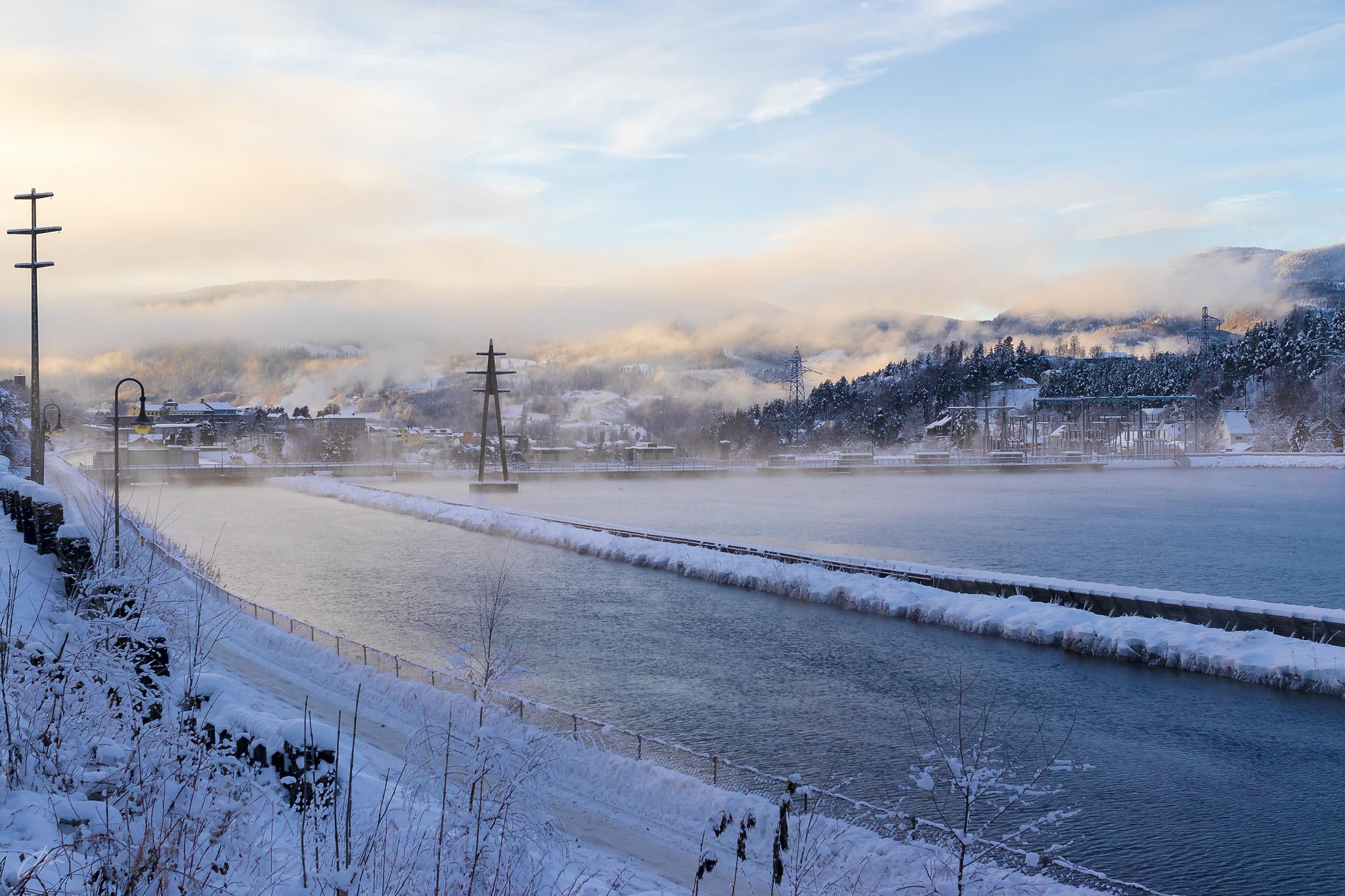 Frostrøyk i januar, sett fra Kanalveien