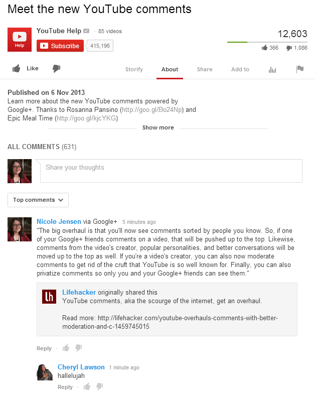 new YouTube comments - comment.png