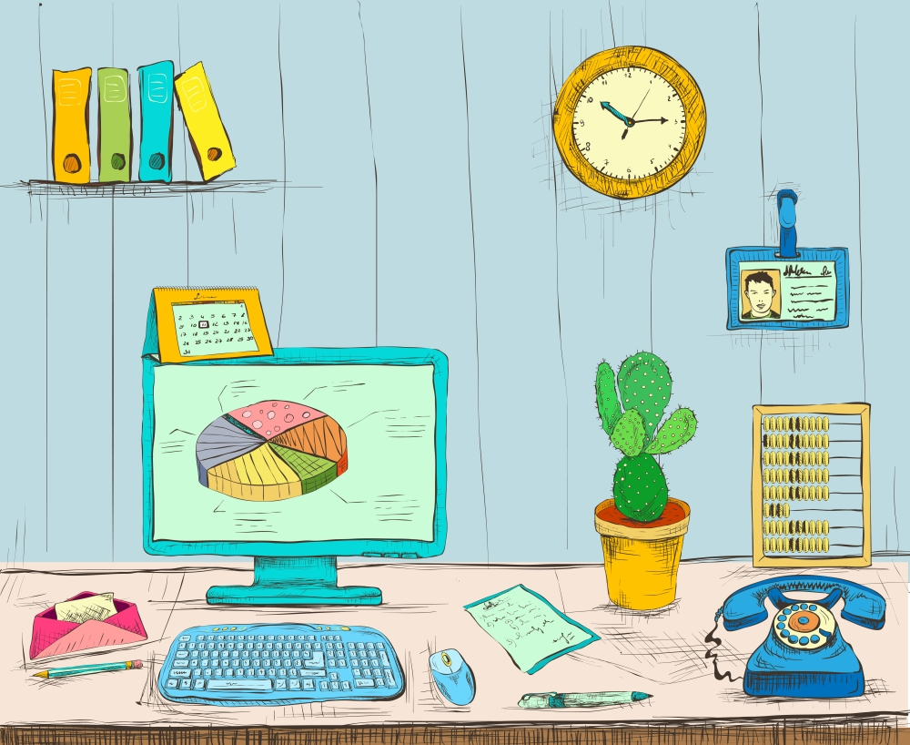 Business workplace office interior desk