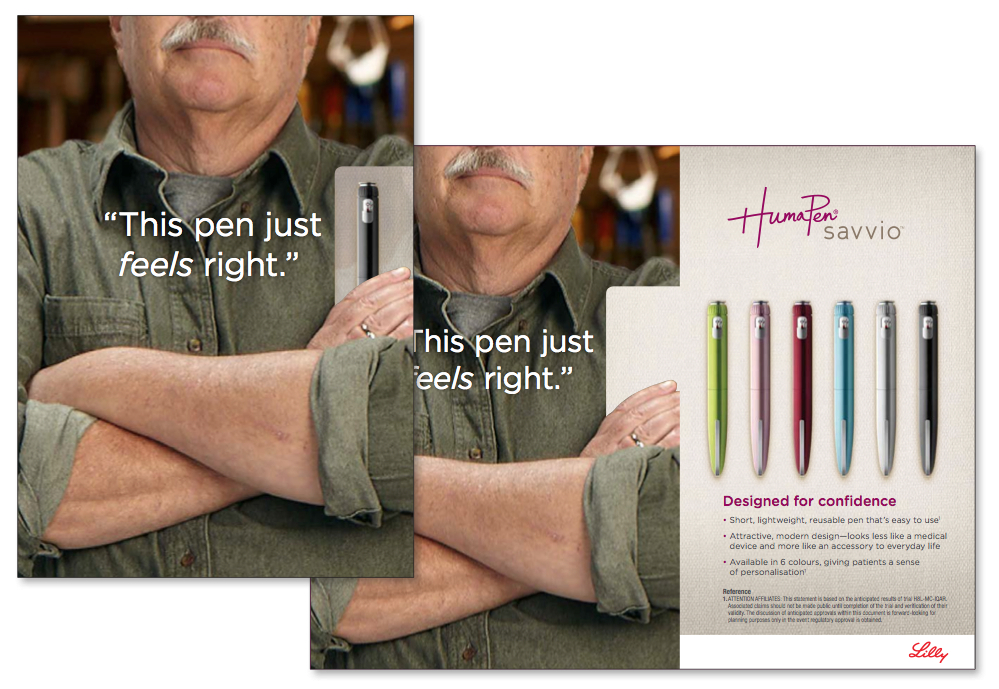 A pull-out collateral piece showing a selection of insulin pens for patients. Patients were involved in the actual design of the pens. The campaign tied in to the sense of ownership patients felt with this new device.