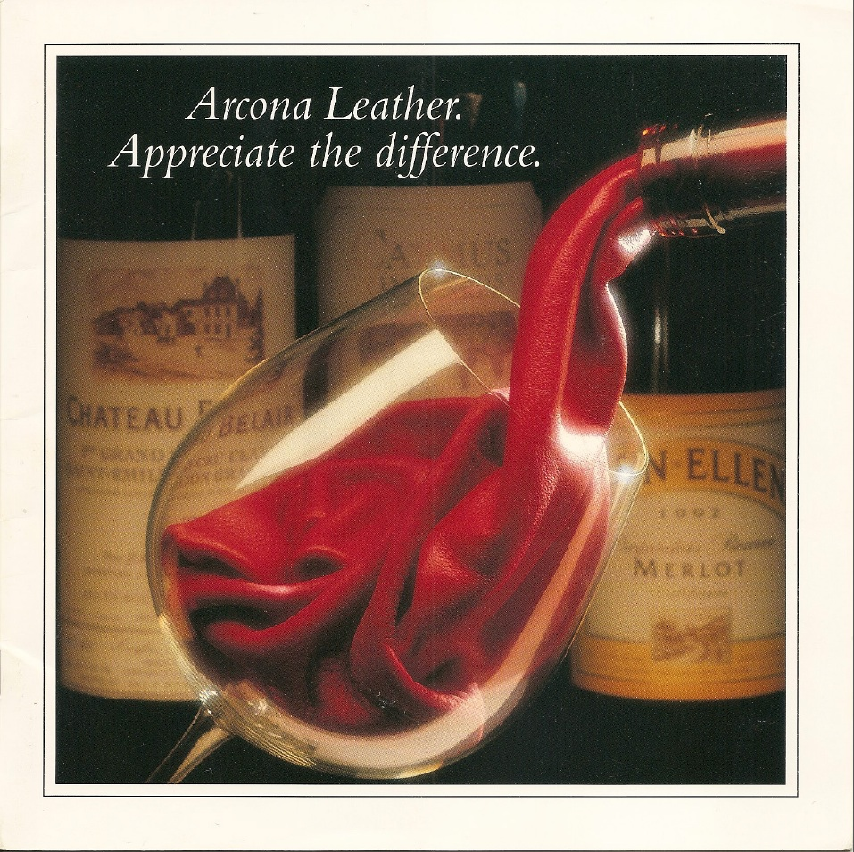 """Arcona processes fine leather and asked for a brochure that reps could use to talk to furniture manufacturers. The """"liquid leather"""" concept helped show the suppleness of the product. The manufacturers liked the brochures so much, they used them to show consumers the value of the leather, too."""