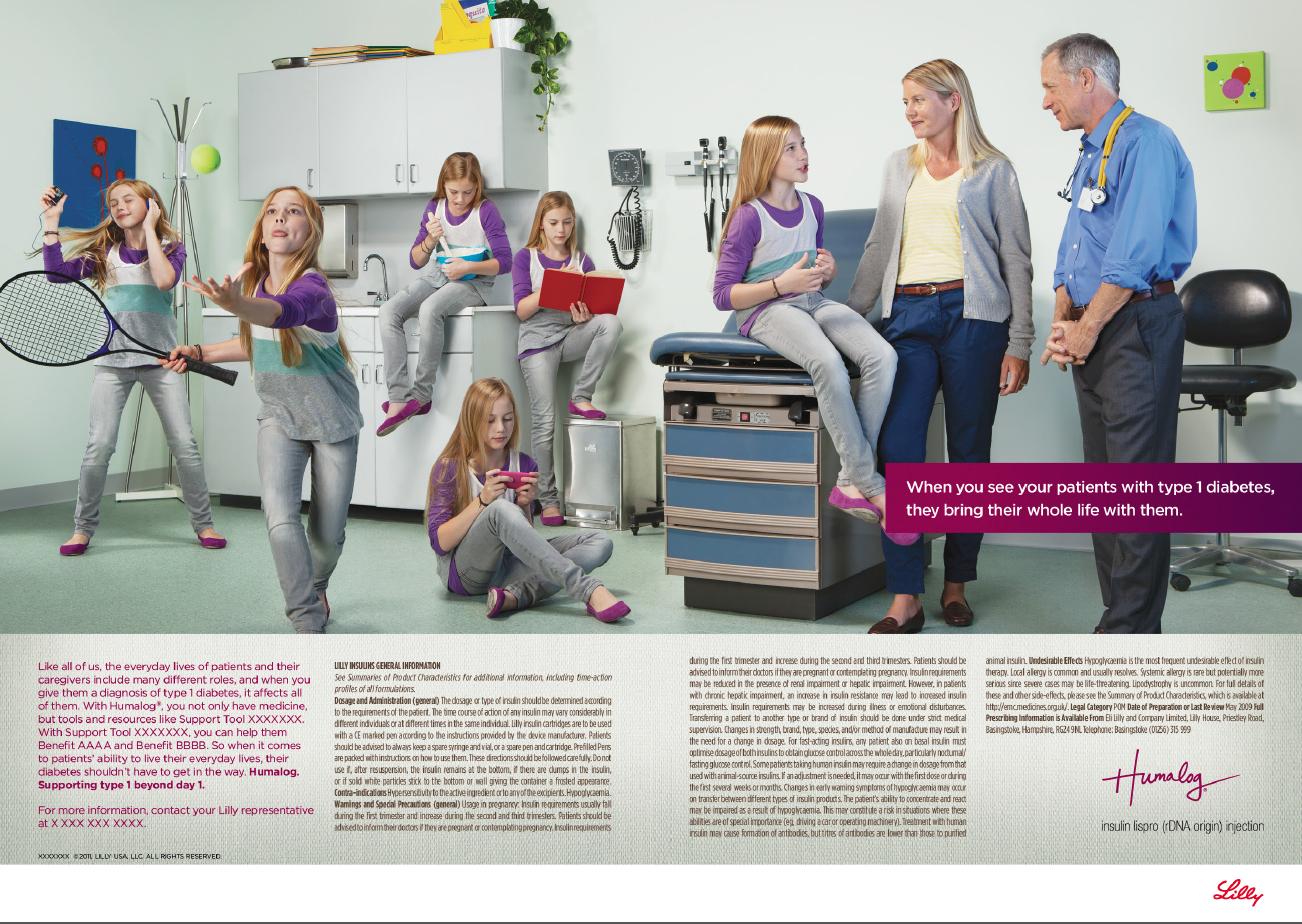 Insight-based ad for physician-targetedpediatric diabetes market.