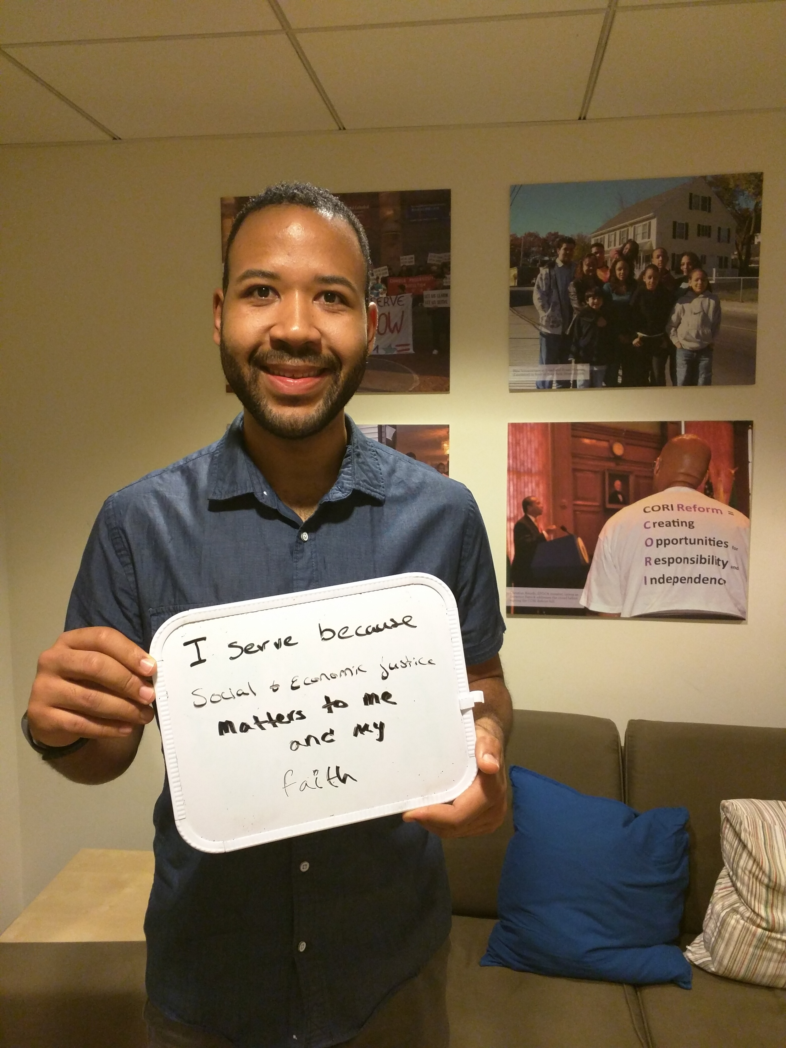 """""""I serve because social & economic justice matters to me and my faith"""" - Ashton Murray, Micah Fellow at Episcopal City Mission & Cambridge intentional community"""