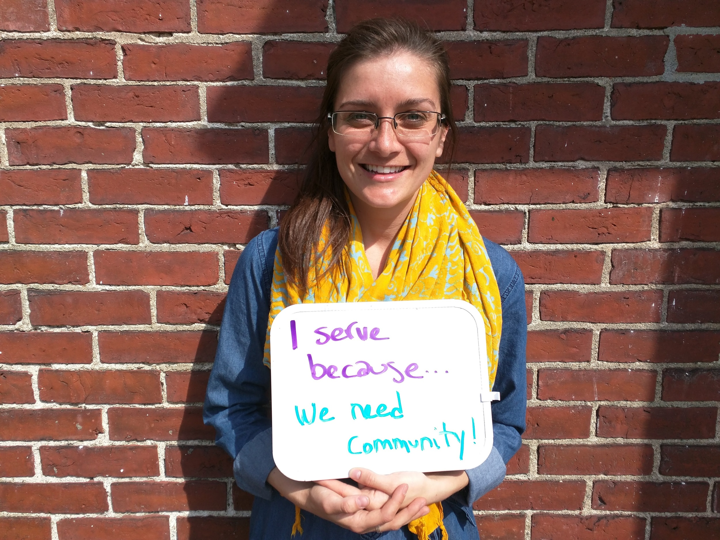 """""""I serve because we need community!"""" - Libby Gatti, Micah Fellow at MANNA & Cambridge Intentional Community"""