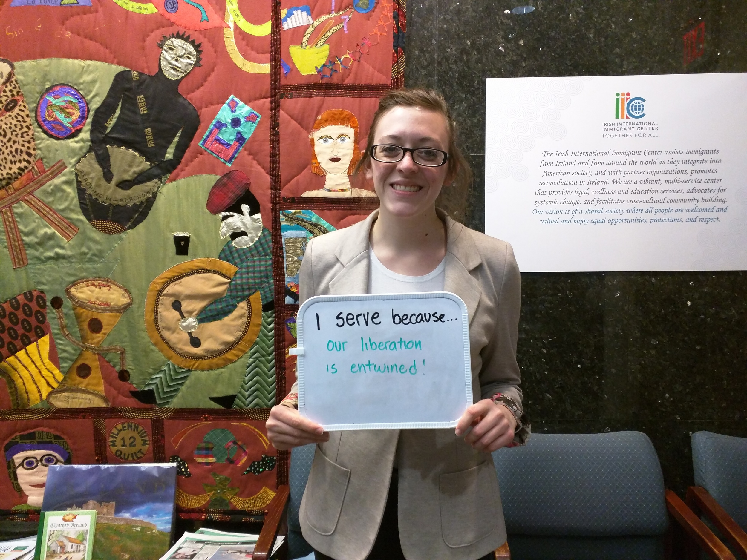 """""""I serve because...our liberation is entwined"""" - Gabrielle Crossnoe, Micah Fellow at Irish International Immigrant Center & Brookline Intentional Community"""