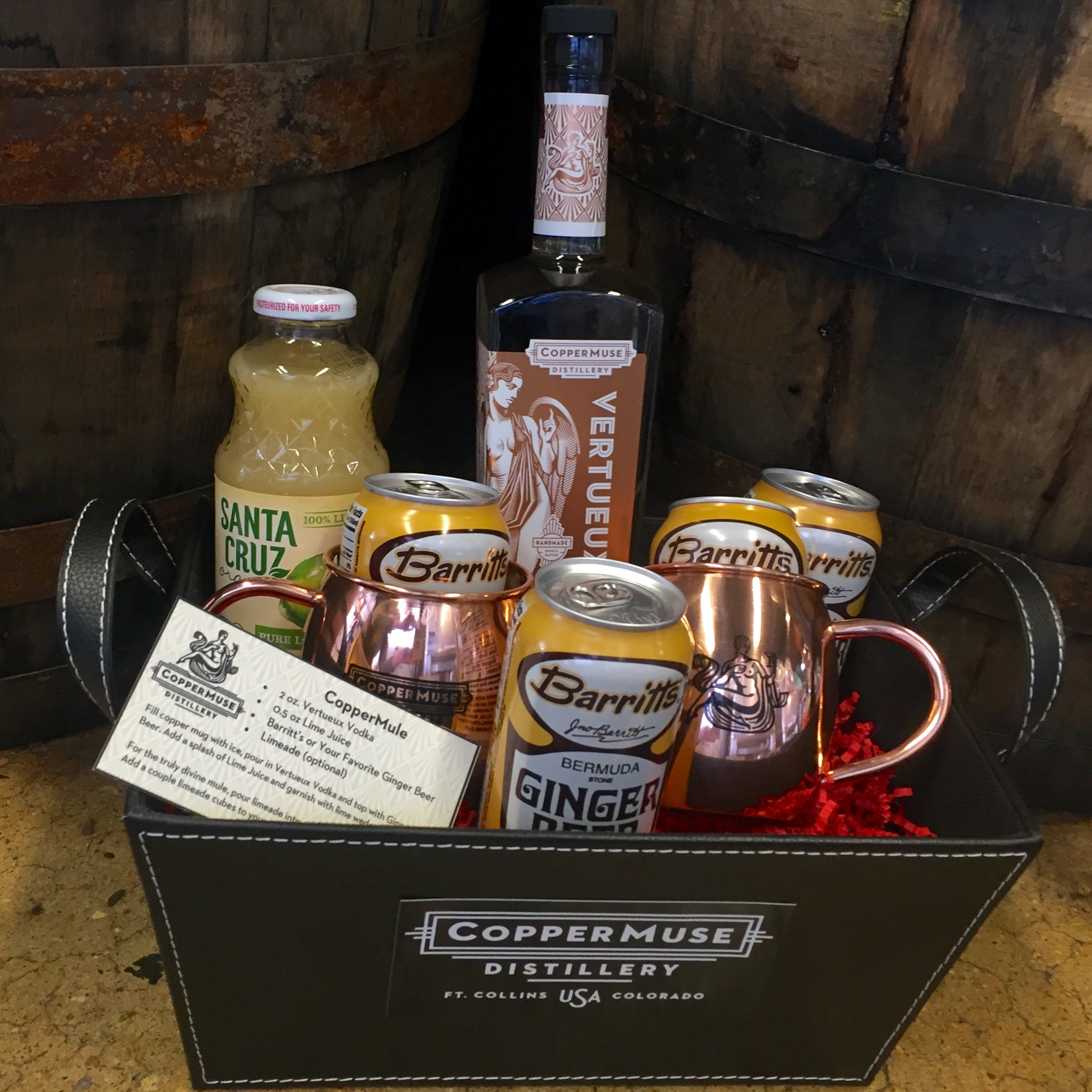 CopperMule Gift Basket - choice of Vertueux Vodka (classic Moscow Mule) or Gold Rum (Gold 'n' Stormy)