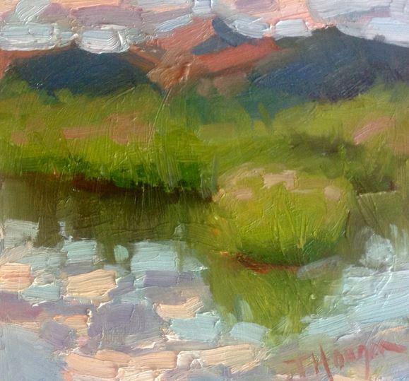 """""""Alpen Glow"""" by Jeanne Hougen painted Plein Air"""