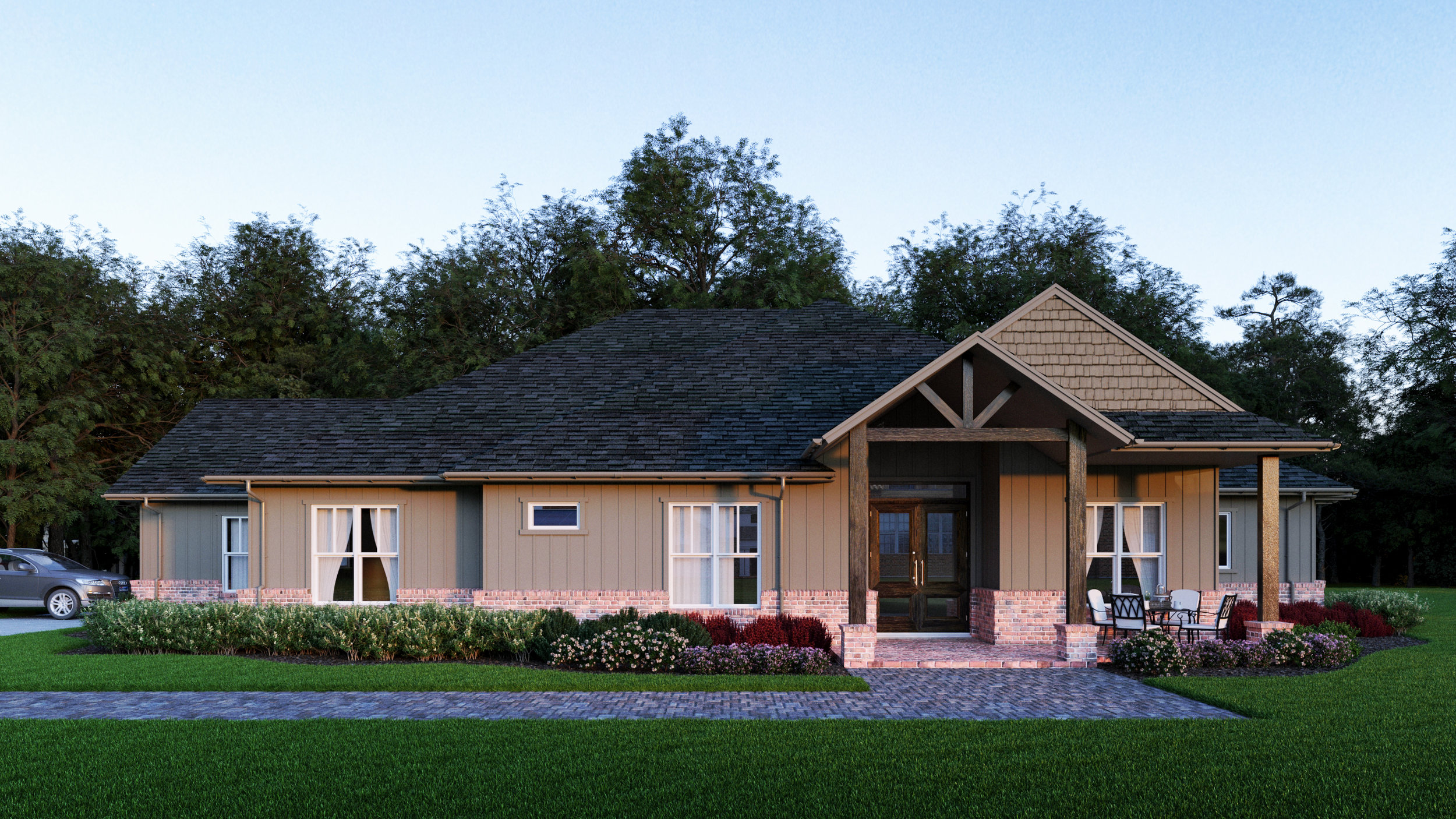 Beds: 4  Baths: 2.5  This plan features 3 bedrooms, 2 and a half bathrooms, an open concept living area with a fireplace, a study or 4th bedroom, a spacious utility room, a mud room off of the back porch and a large master suite.   Introductory Pricing $399,450