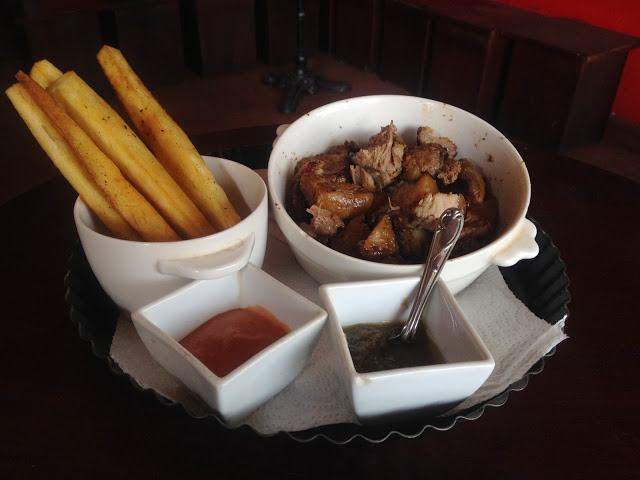 Fried Yam and Pork at Republic's Bar & Grill