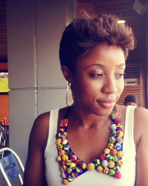 African Print Peter Pan Collar Necklace on an off-white tank top