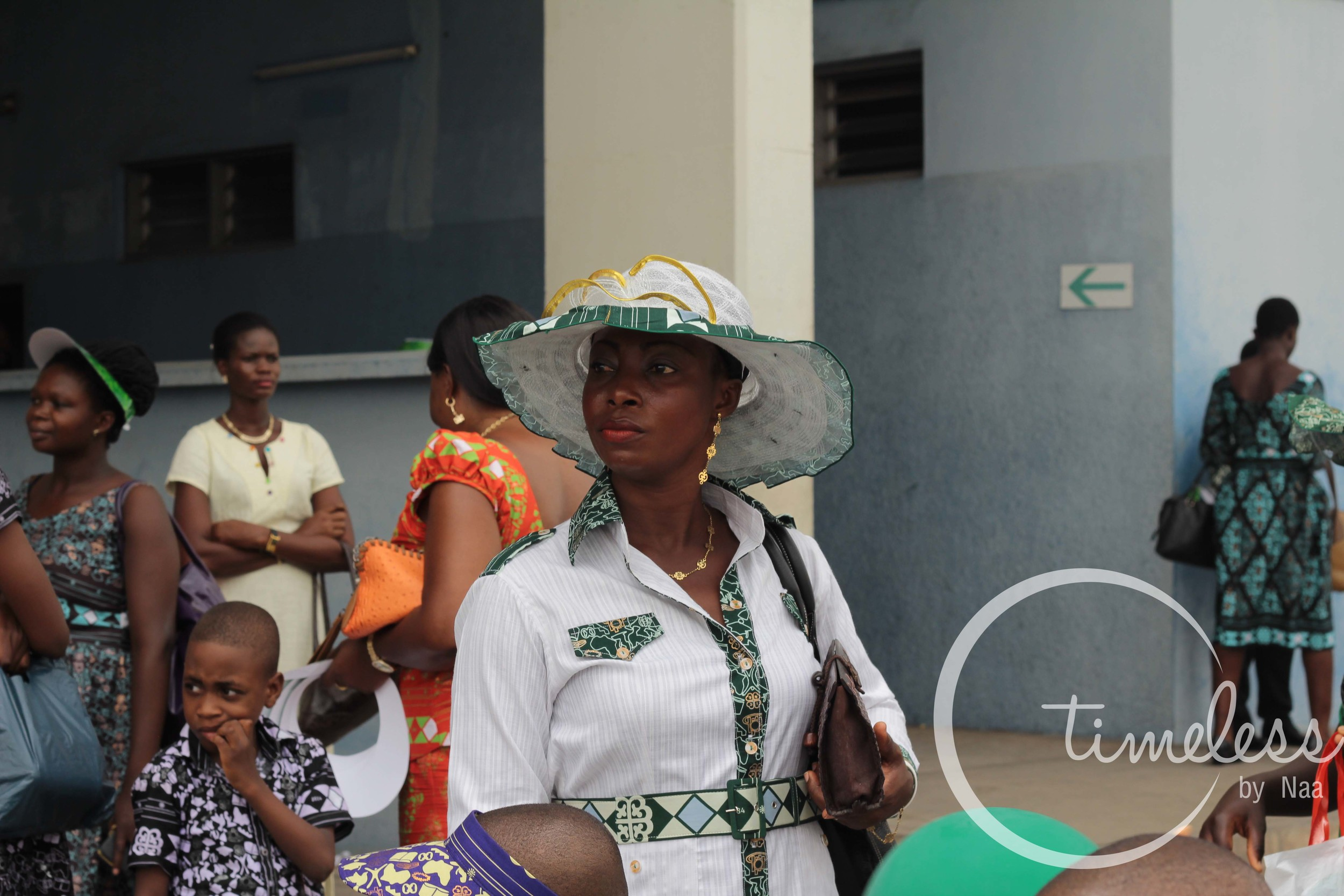 This lady was well adorned in a matching hat which I am guessing she made herself.