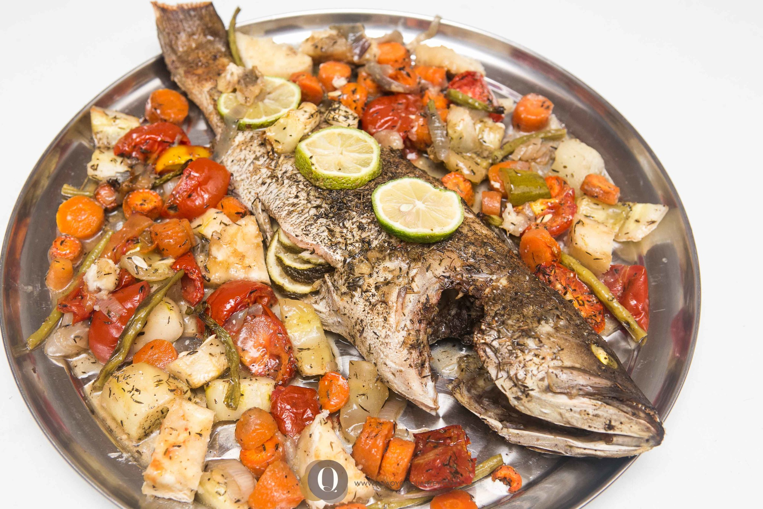 Baked grouper with baked vegetables