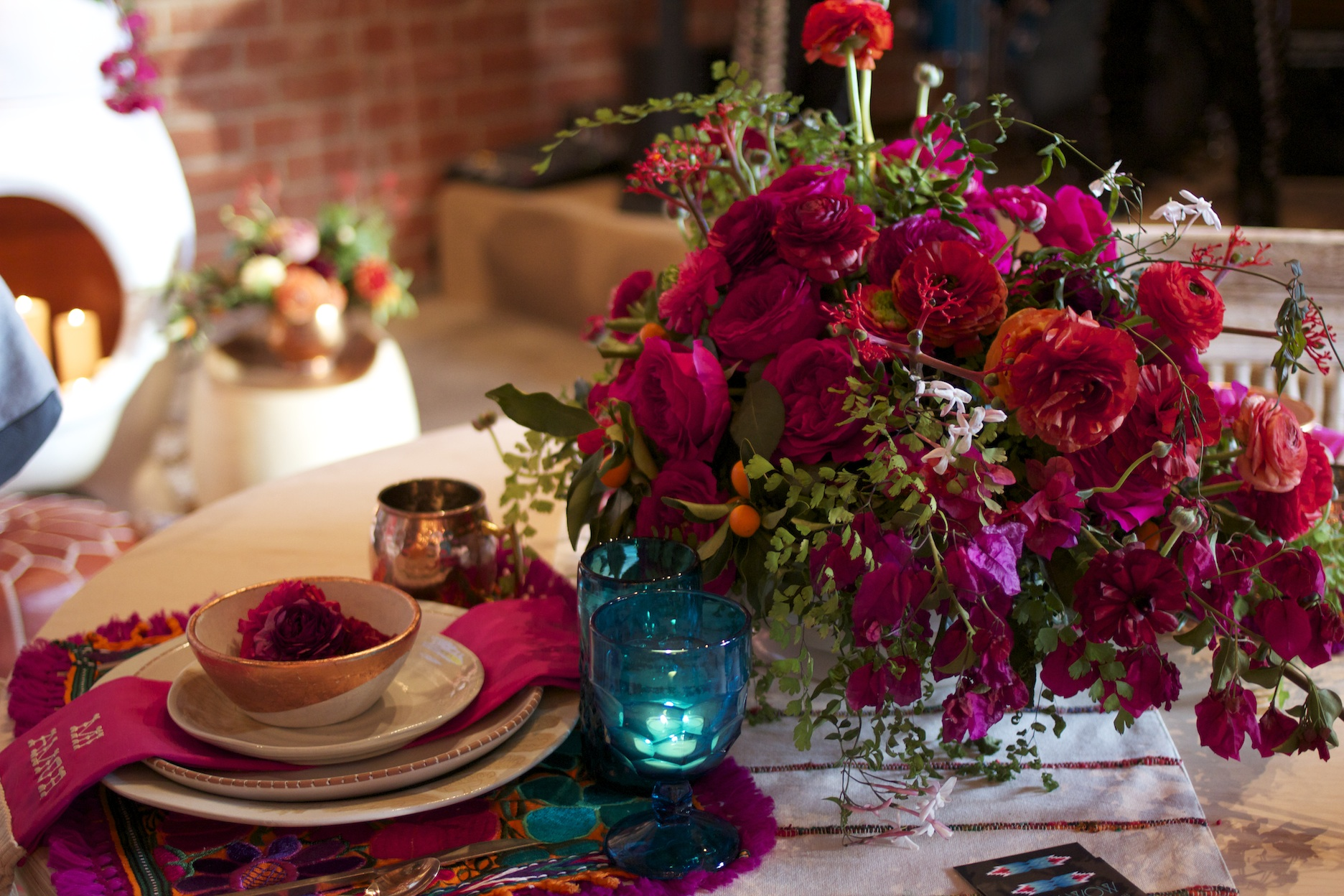 Loving all the bright colors! Design by  Pow Wow  and florals by  Honey and Poppies