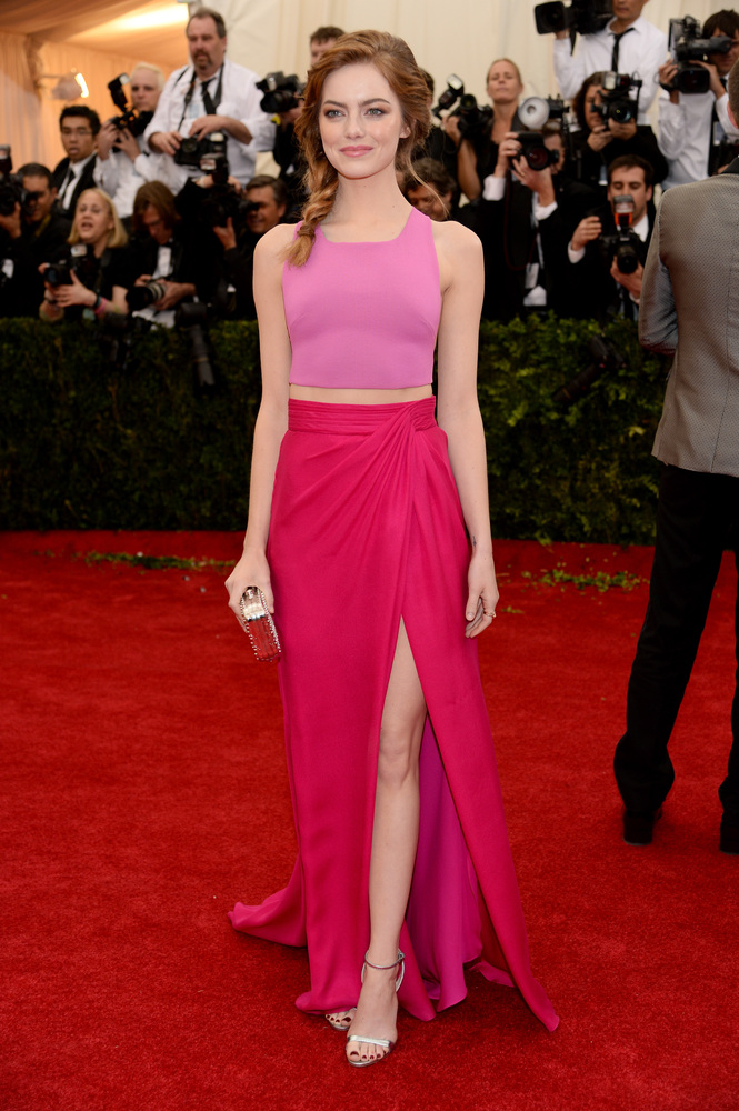 Emma Stone is our pick for best dressed of the night! Color blocking at its finest!