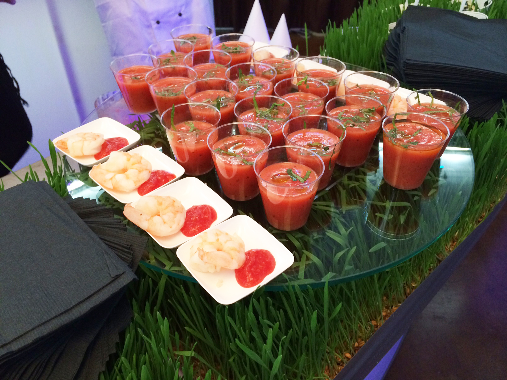 Loved this display of Shrimp cocktail and Watermelon and Mint Gazpacho Shooters by  The Mark for Events