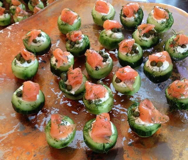 One of my favorites from last night! Cucumber Canapes with Salmon and Dill by  Lawry's Catering