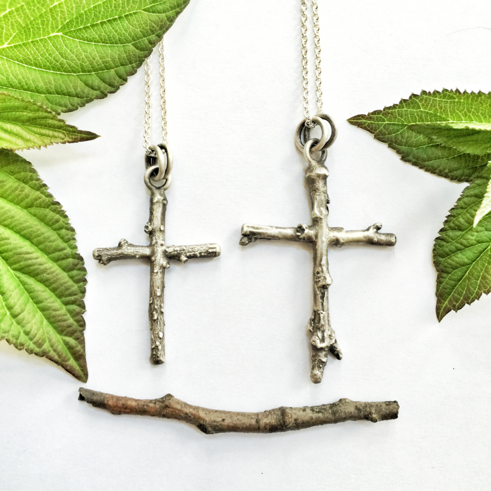 The bespoke twig crosses, in solid sterling silver.
