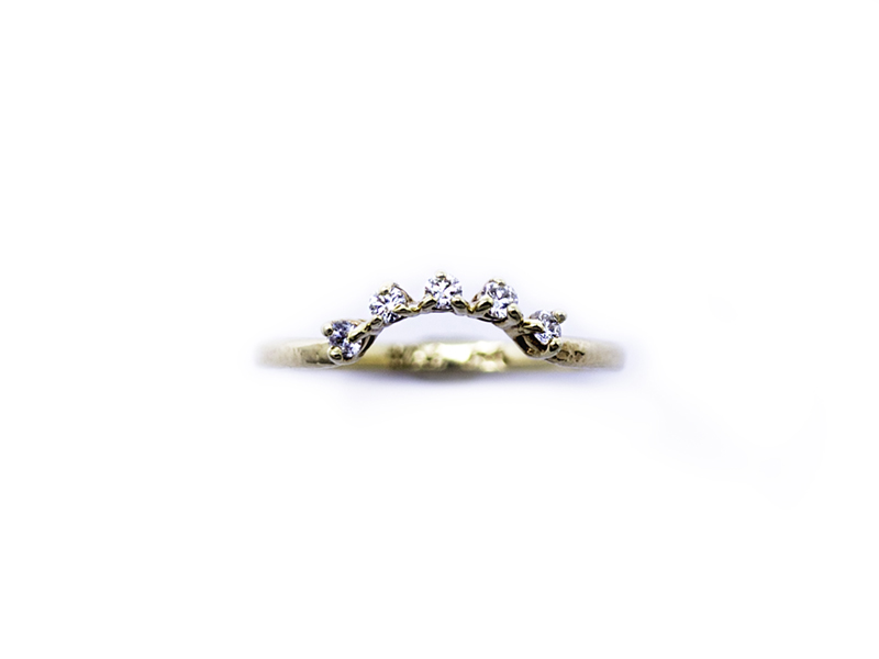 A recent wedding band made for an engagement ring I made last year! Recycled 14kt yellow gold + Five .03ct certified conflict free diamonds.