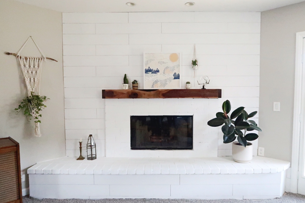 shiplap and brick fireplace