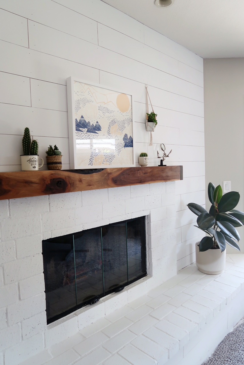 shiplap and brick fireplace diy