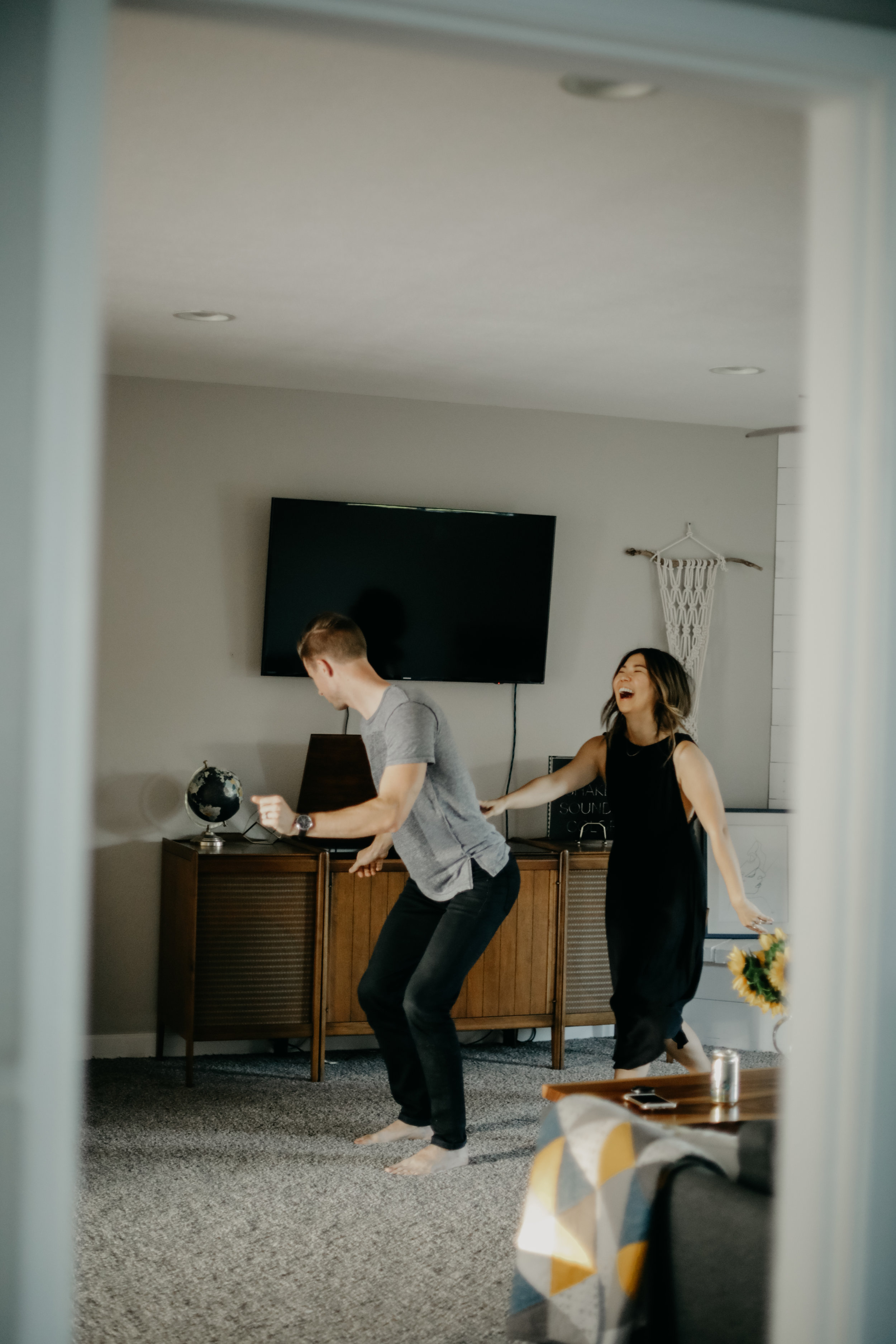 silly dancing couple