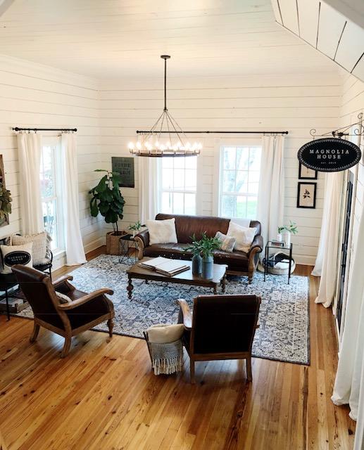 magnolia house shiplap hardwood floors