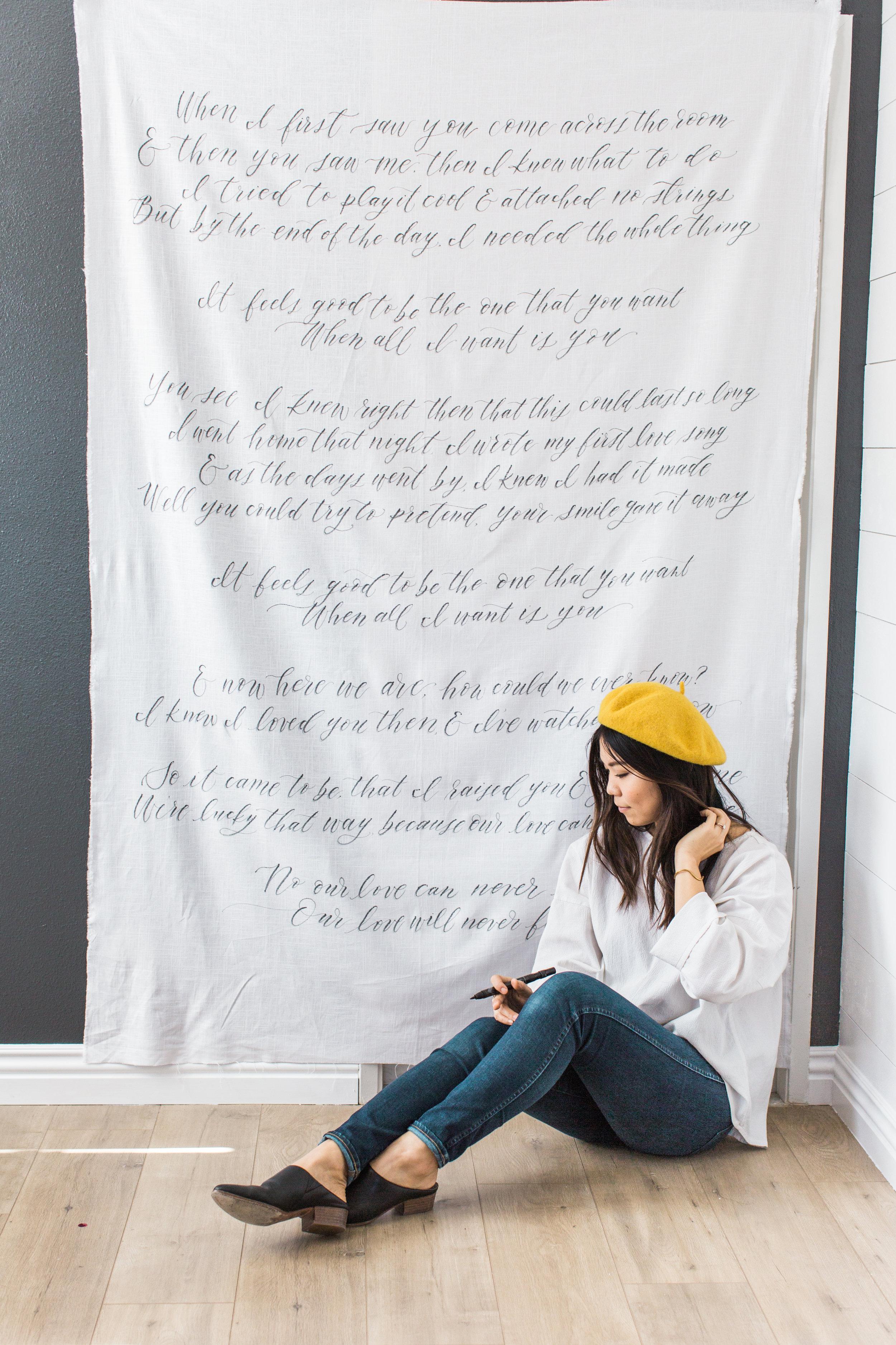 large linen banner home decor