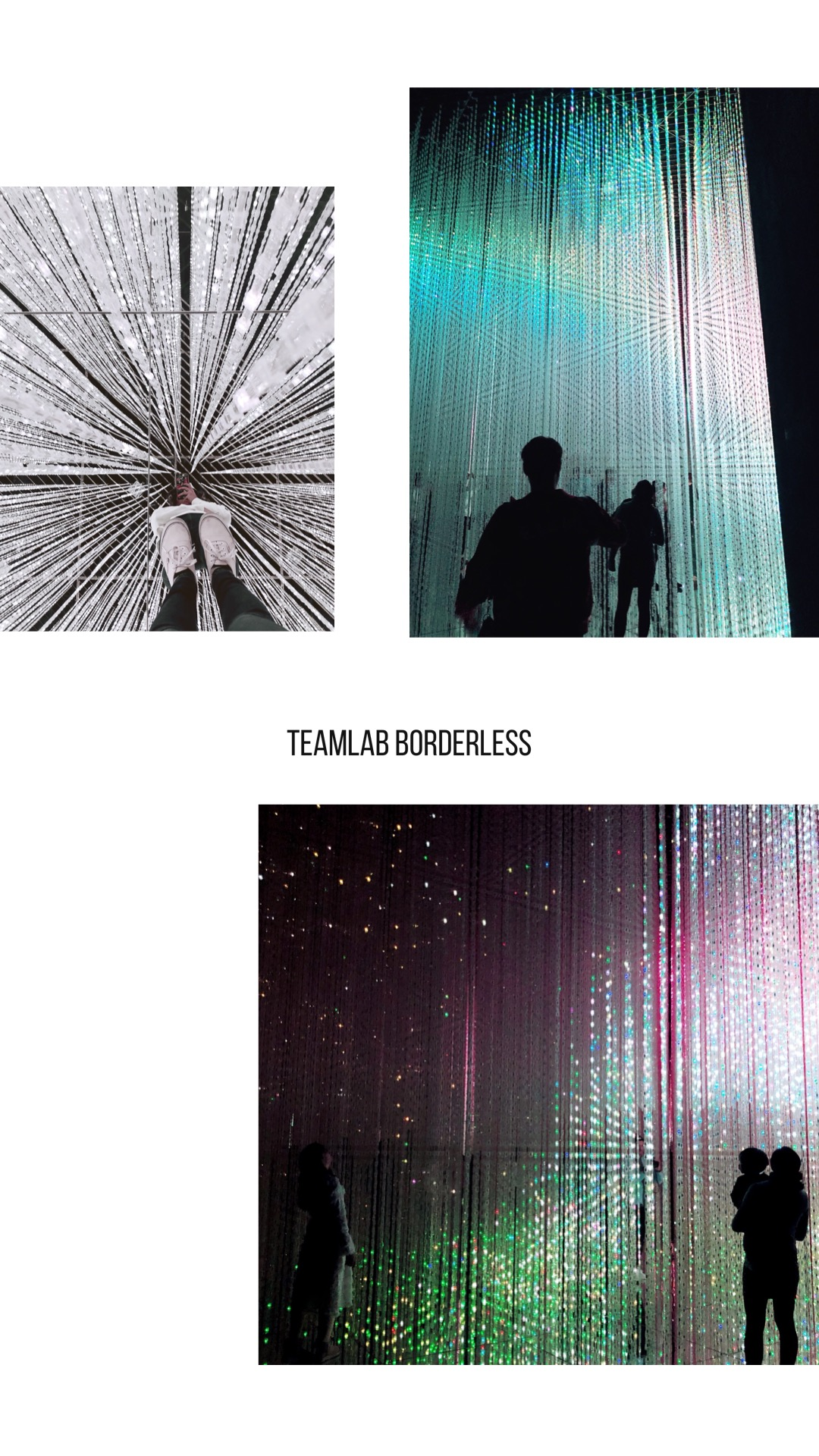 """Teamlab Borderless: I always try to visit museums when traveling and when I saw this on Instagram, I had to go see it for myself! Teamlab is basically a giant art installation using lights, movement and colors. There are multiple different rooms with different themes like flowers, crystal rain, waves, light show, and more. The objects are projected by light which moves and changes frequently. That means if you leave one room and return later, the room could be completely different! Some of the installations are interactive so if you """"touch"""" the projected object, it will """"react"""" to your movements. There were also obstacles, a bounce house and a slide which was fun to participate in. If you're sensitive to light, I wouldn't recommend this museum but personally, I thought it was a super cool experience! PS the photos really do not do this place justice."""