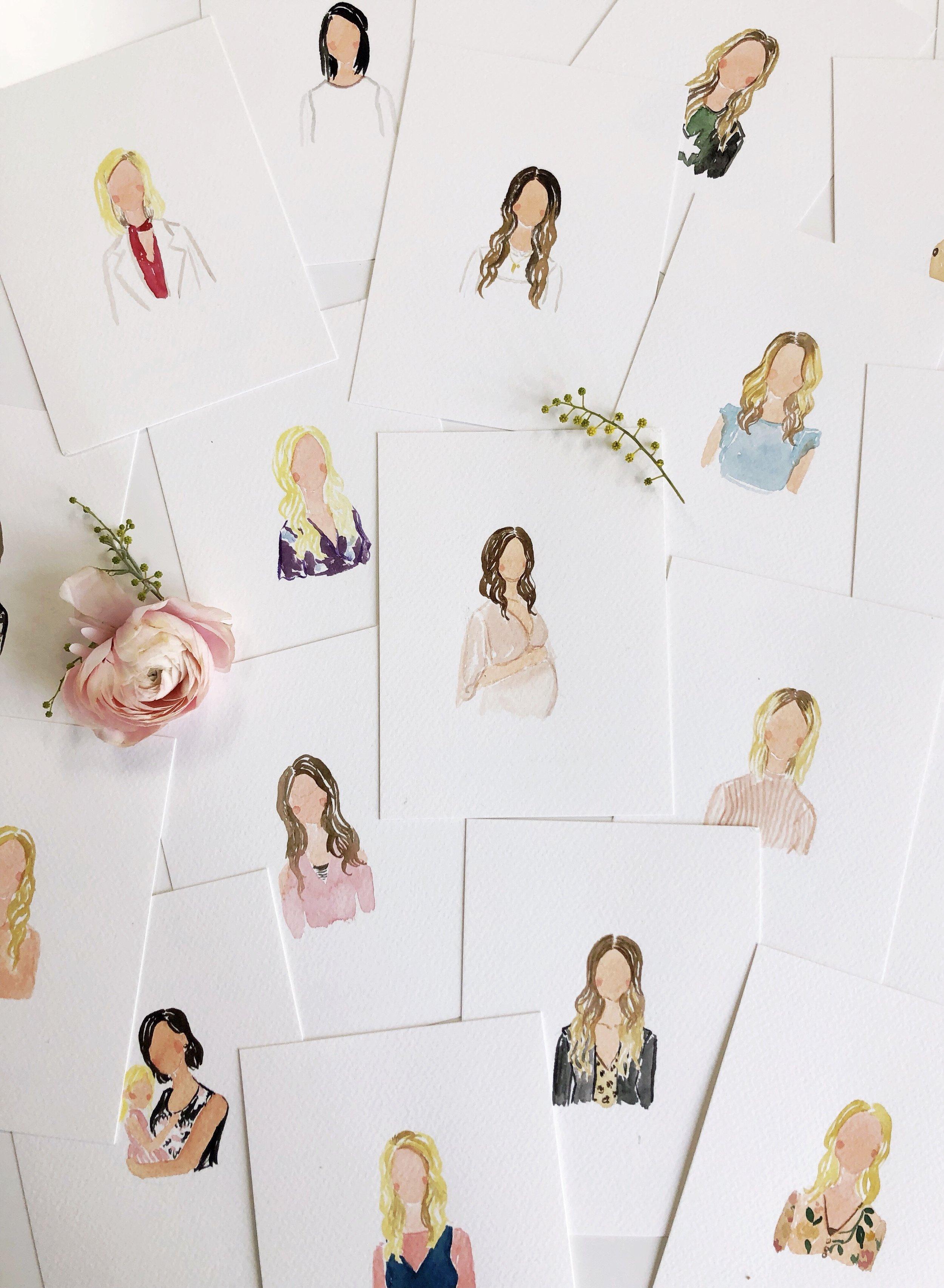 live art watercolor portrait at wedding