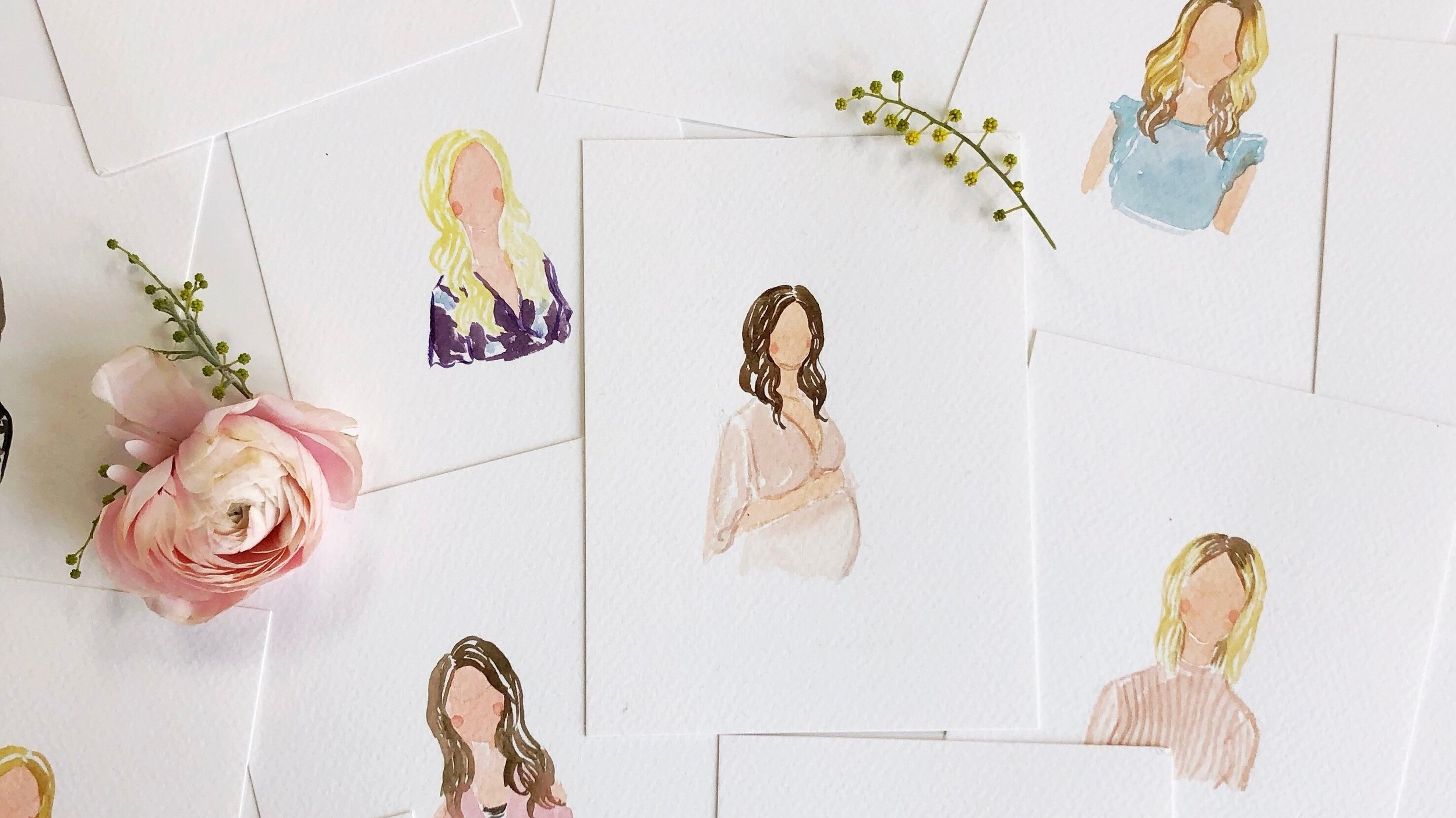 bridal shower watercolor portraits