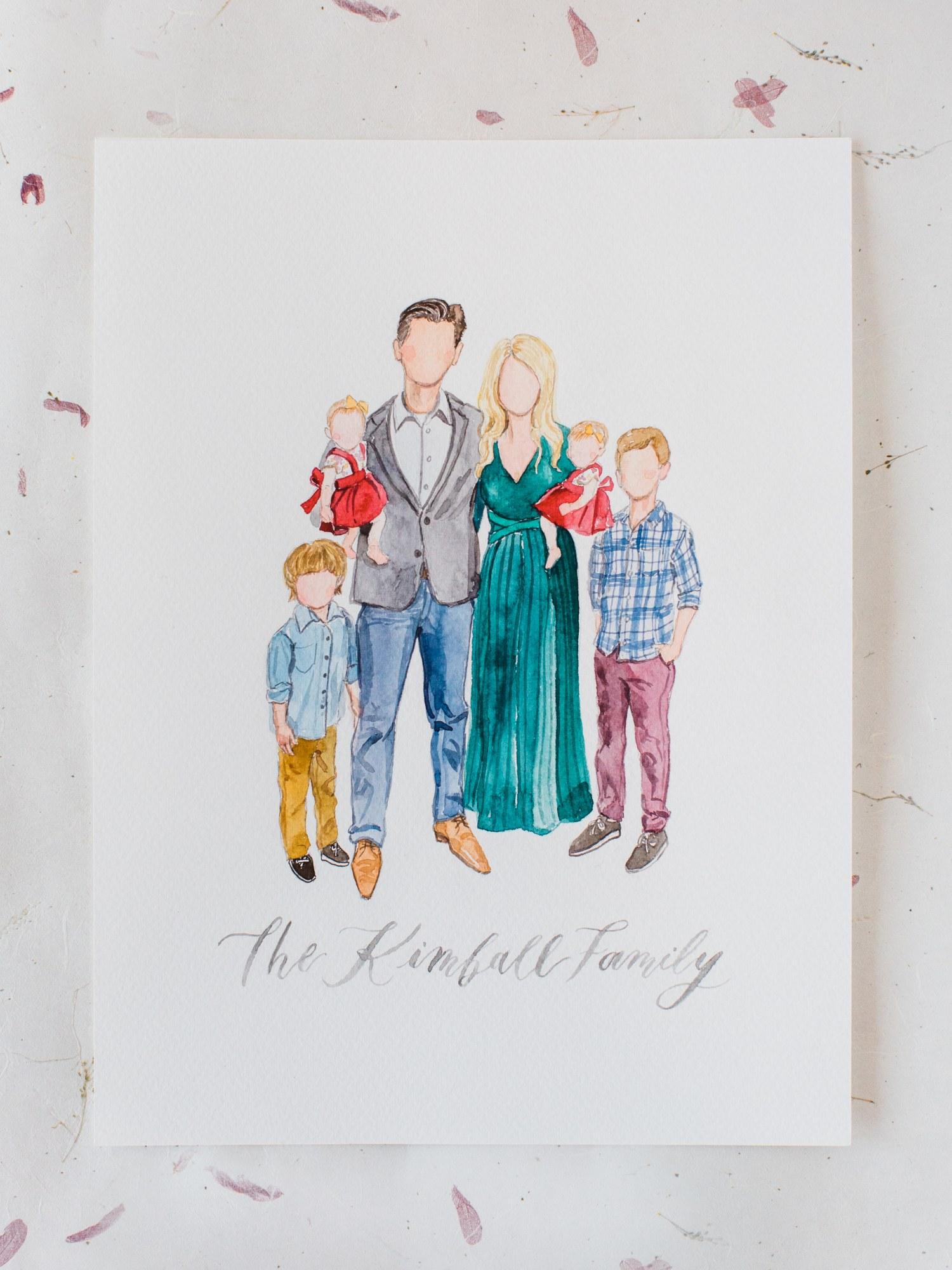 family watercolor portrait