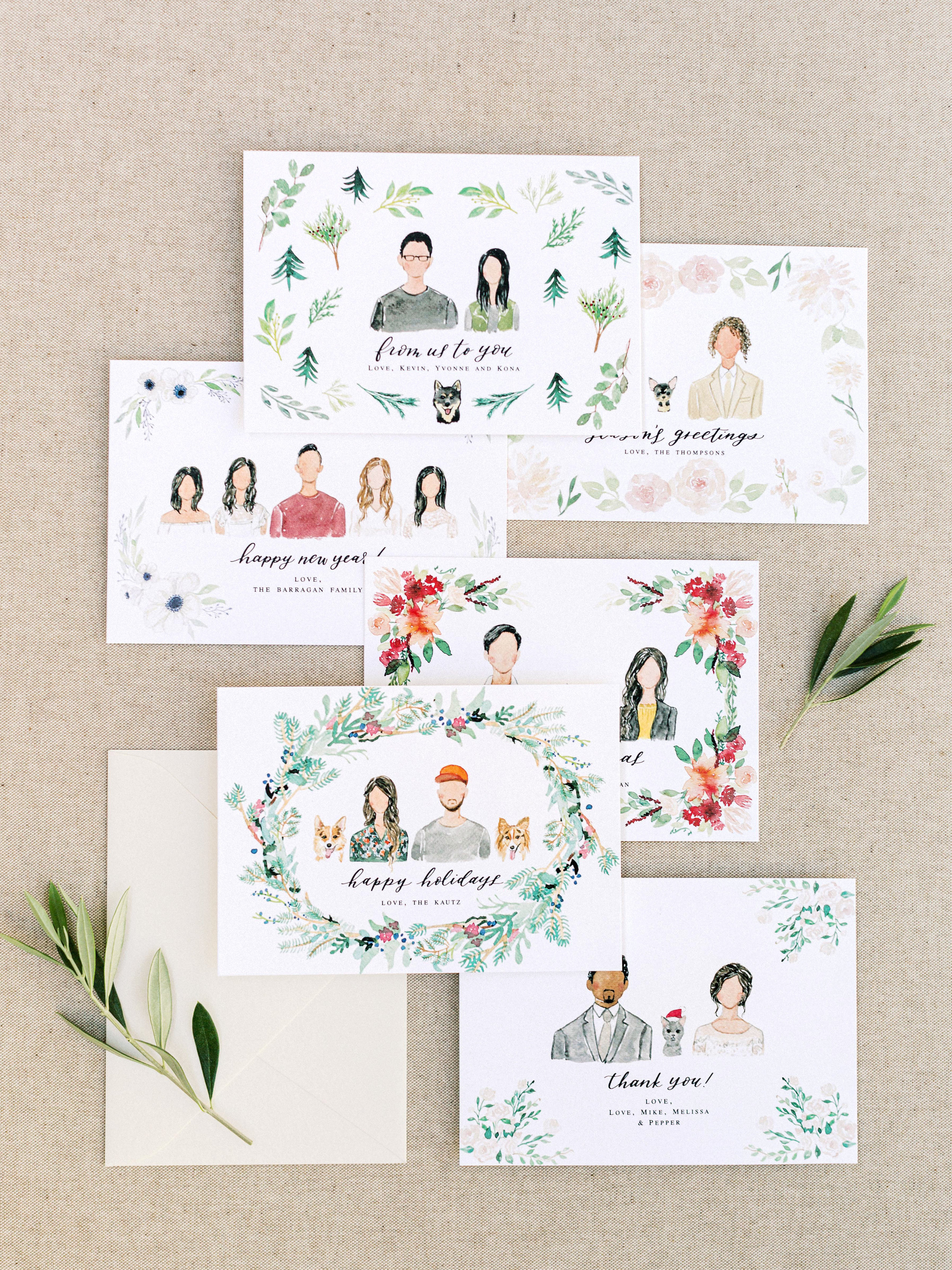 chasing linen holiday portrait card