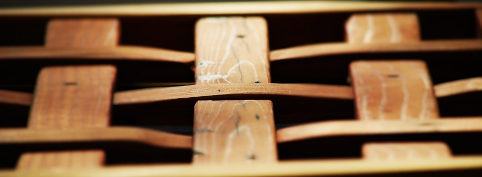 Handcrafted Wooden Basket Weave Bench Photograph