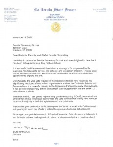 Letter from Loni Hancock